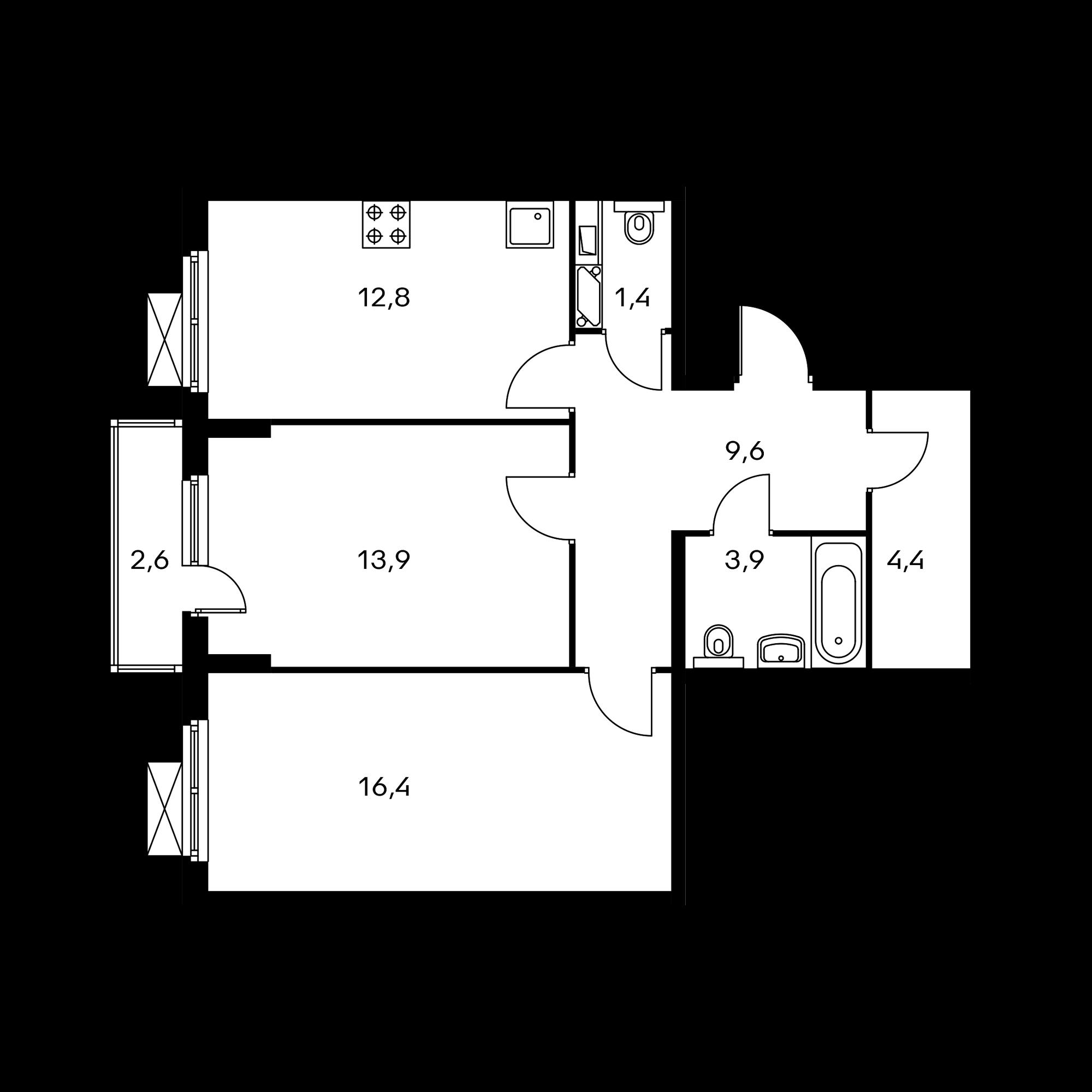 2-комнатная 63.2 м²