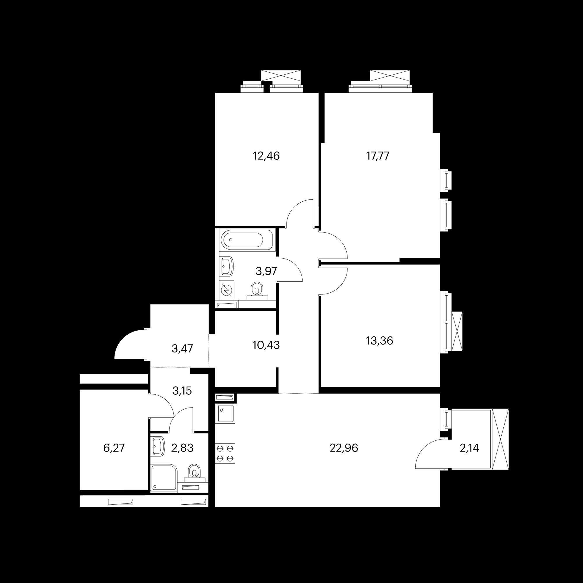 3-комнатная 97.13 м²