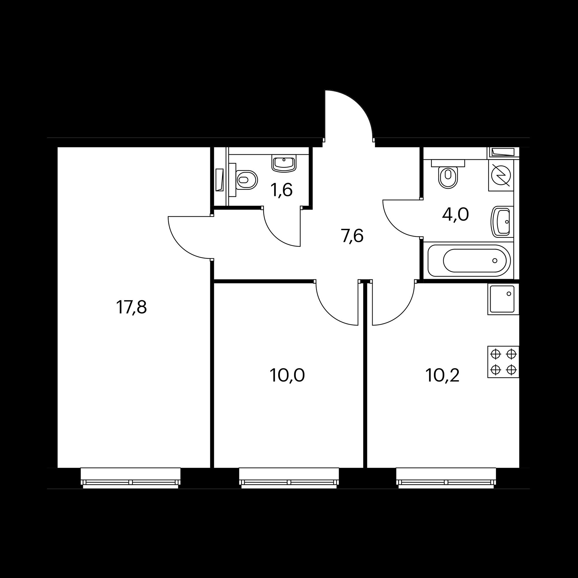 2-комнатная 51.2 м²