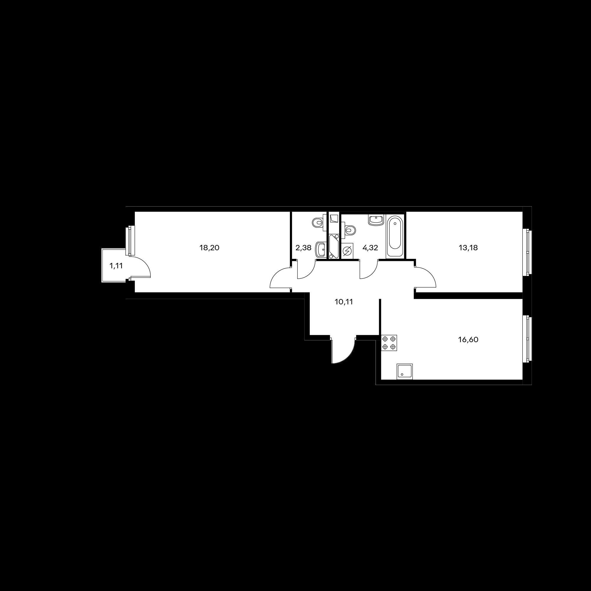 2-комнатная 65.1 м²