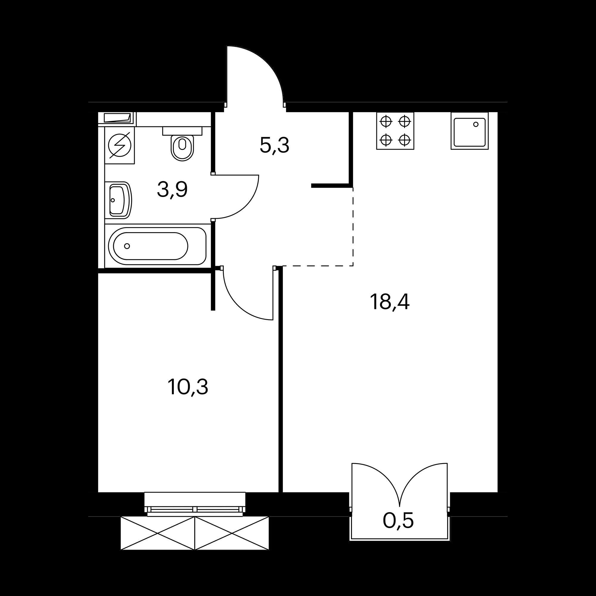 1-комнатная 38.1 м²