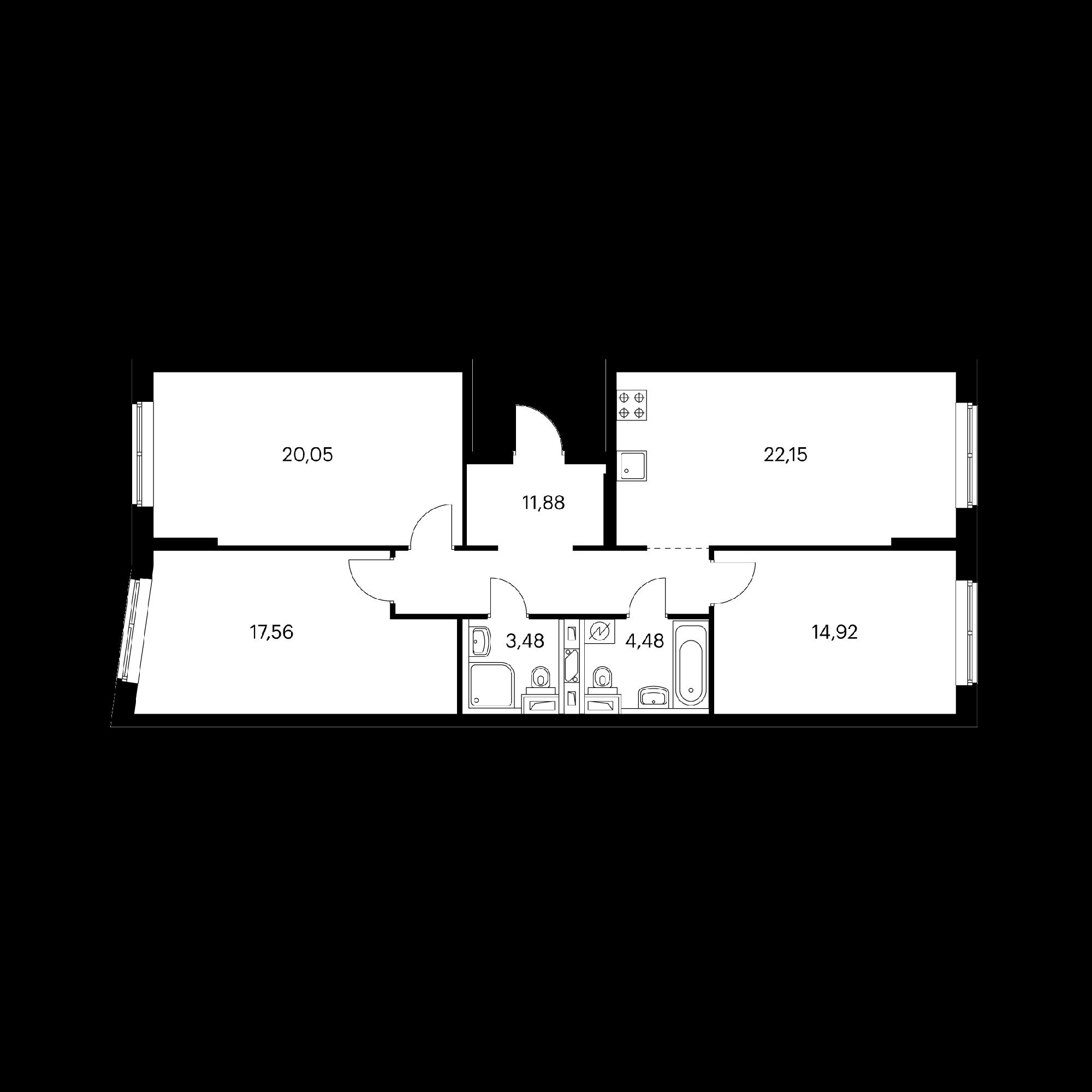 3-комнатная 94.52  м²