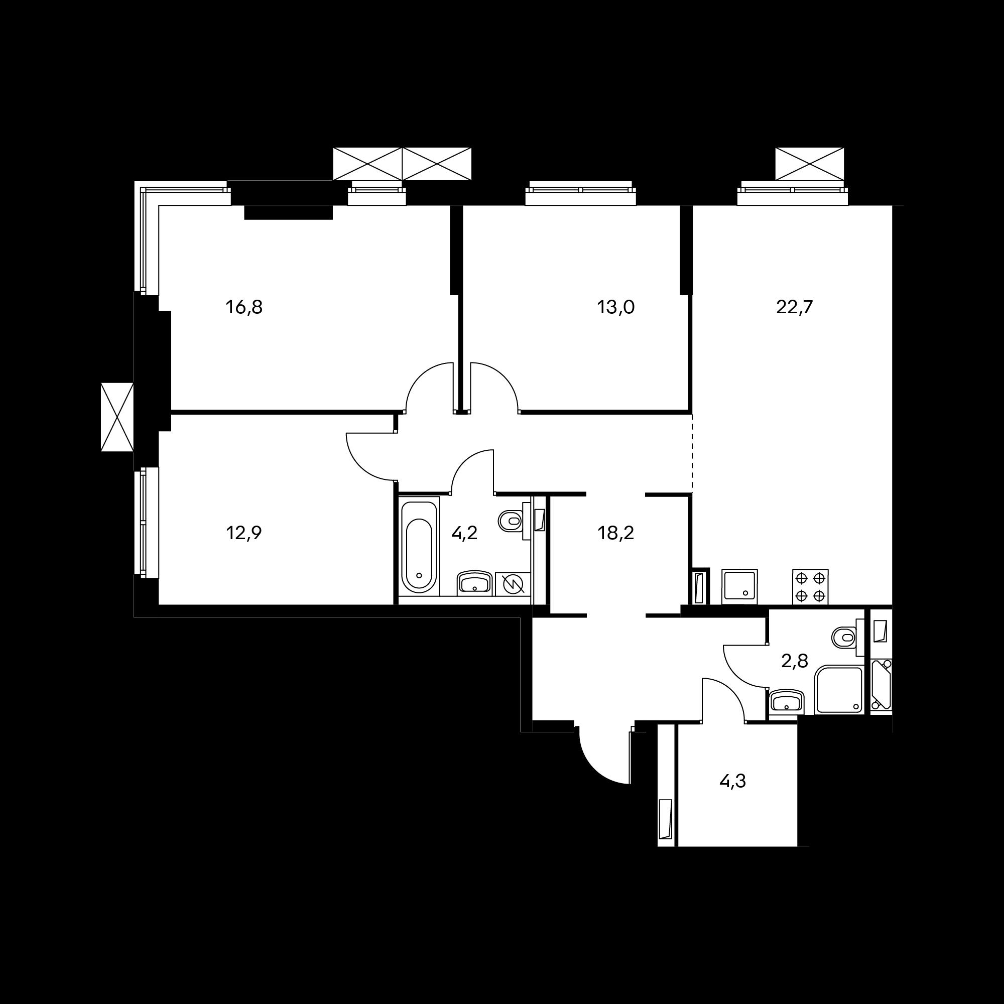 3-комнатная 94.7  м²