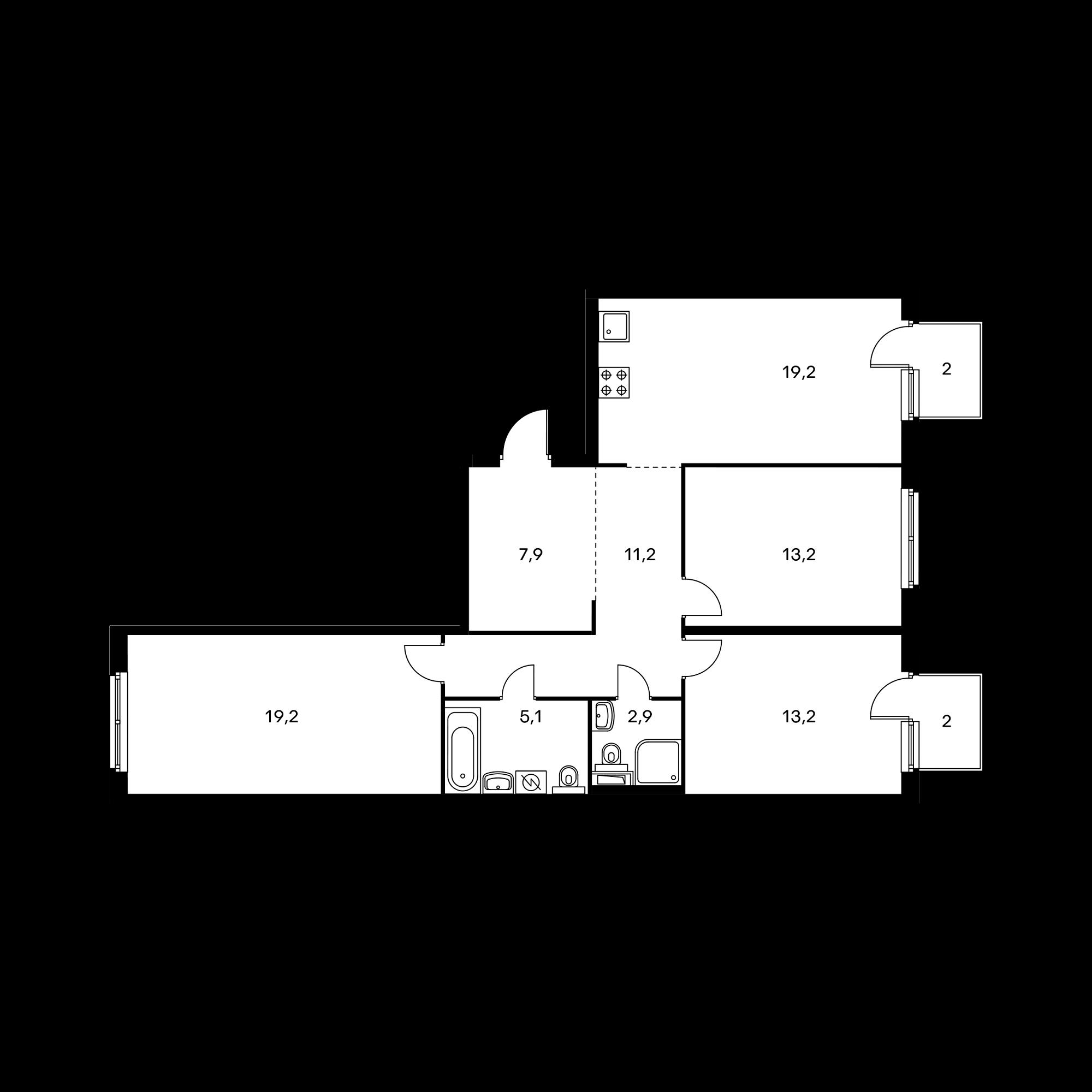 3-комнатная 92.9  м²