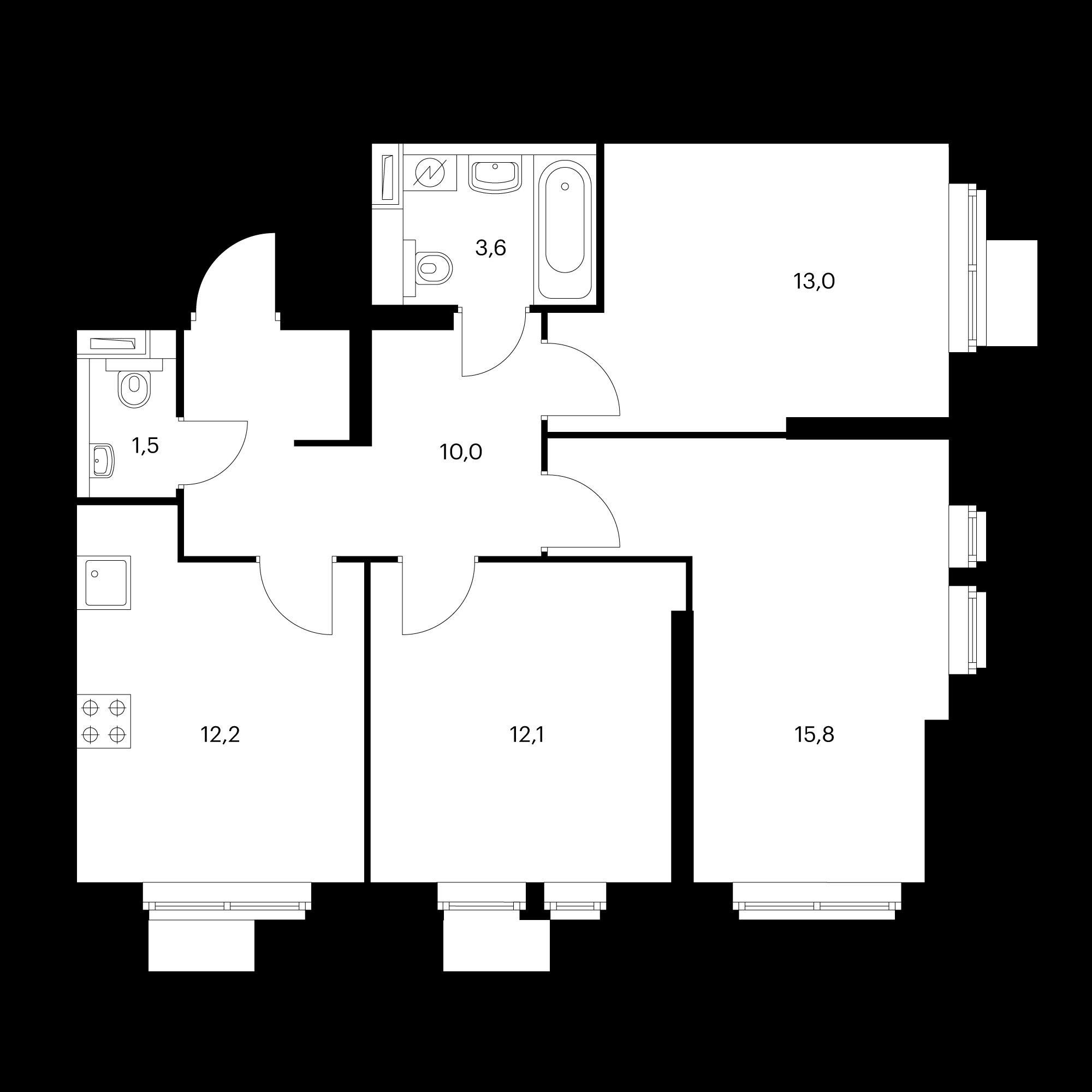 3-комнатная 68.2 м²
