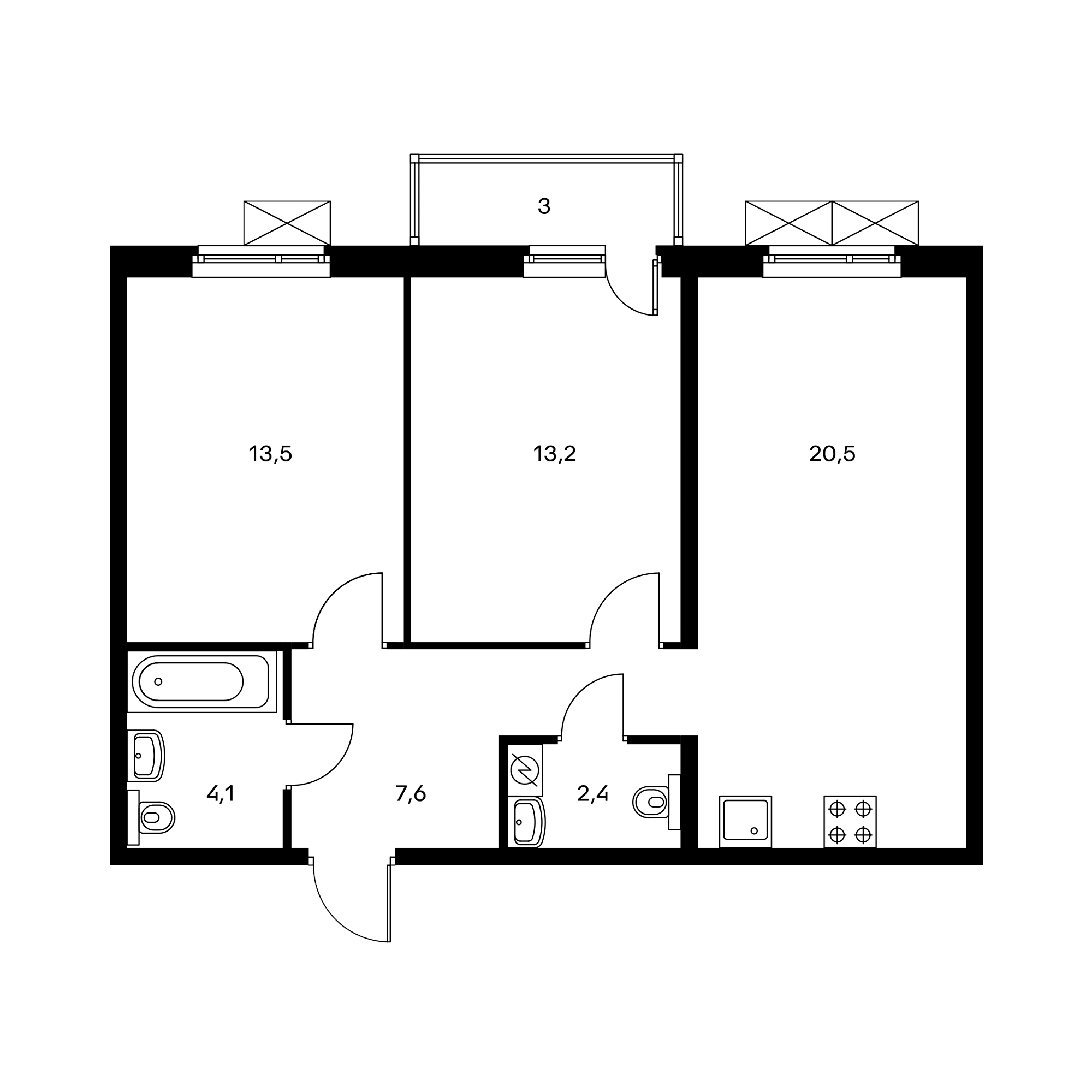 2-комнатная 62.4 м²