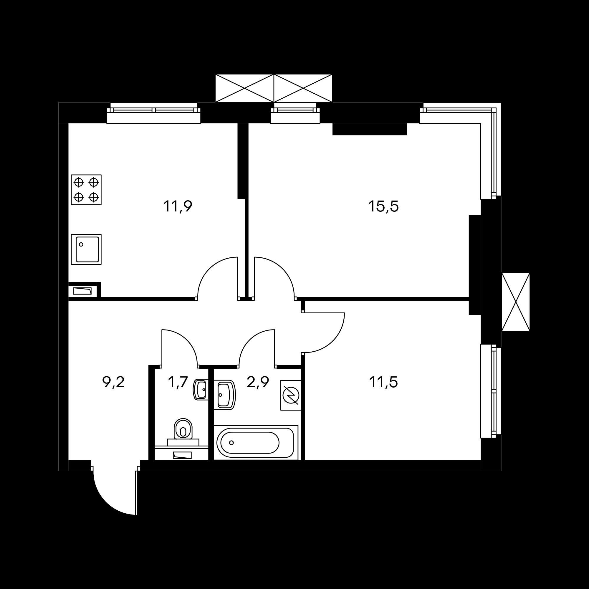 2-комнатная 52.8  м²
