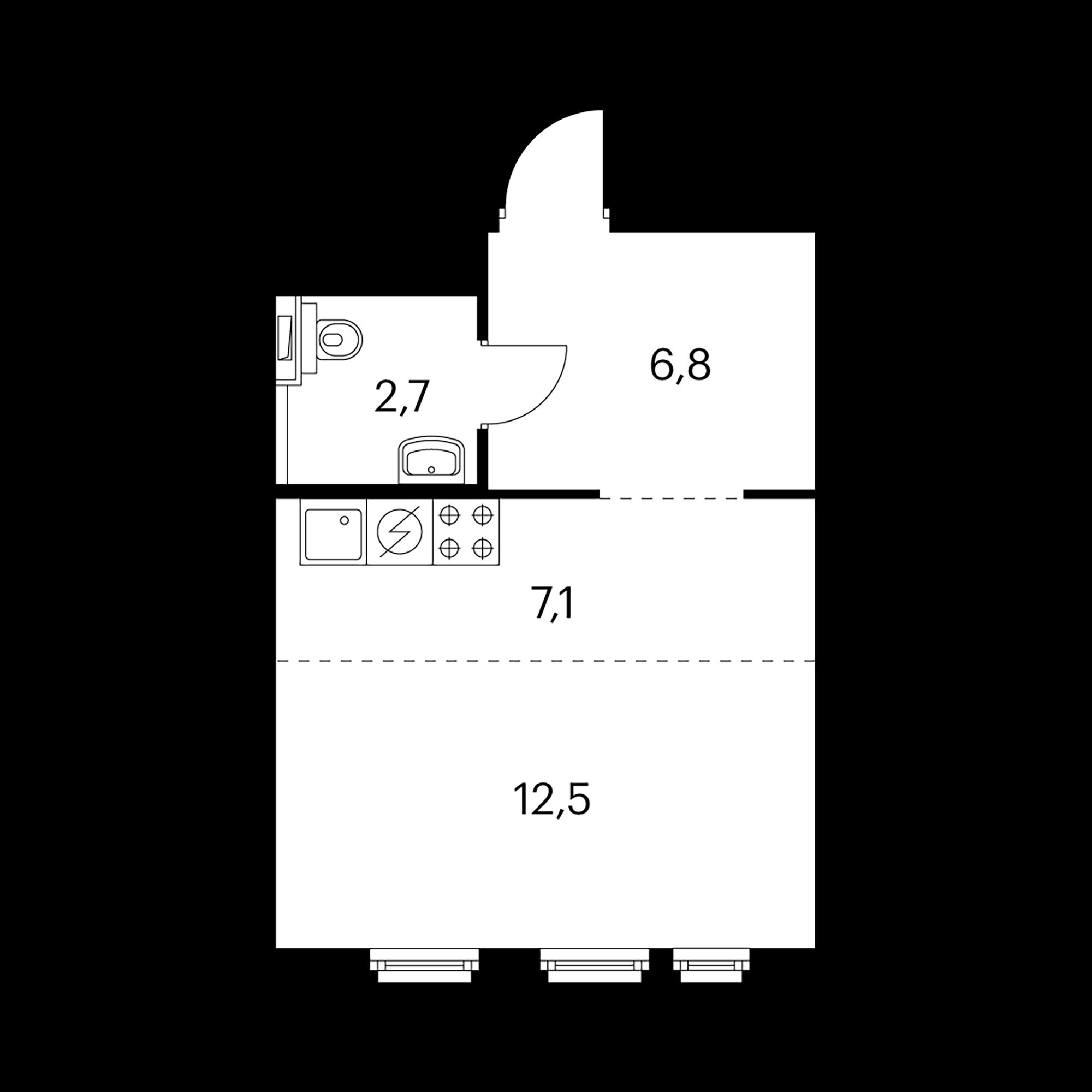 1-комнатная 29.1 м²