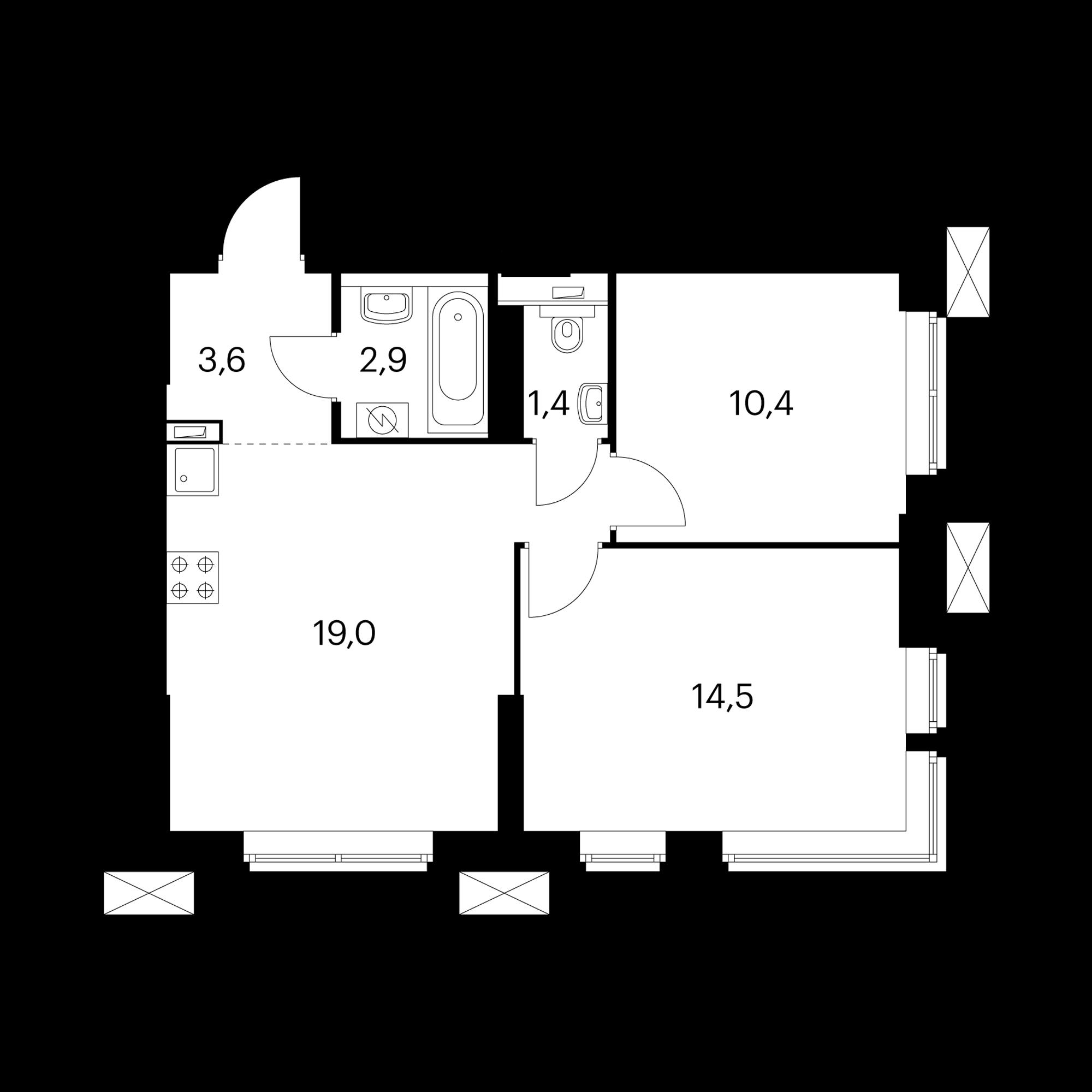 2-комнатные 52.5  м²