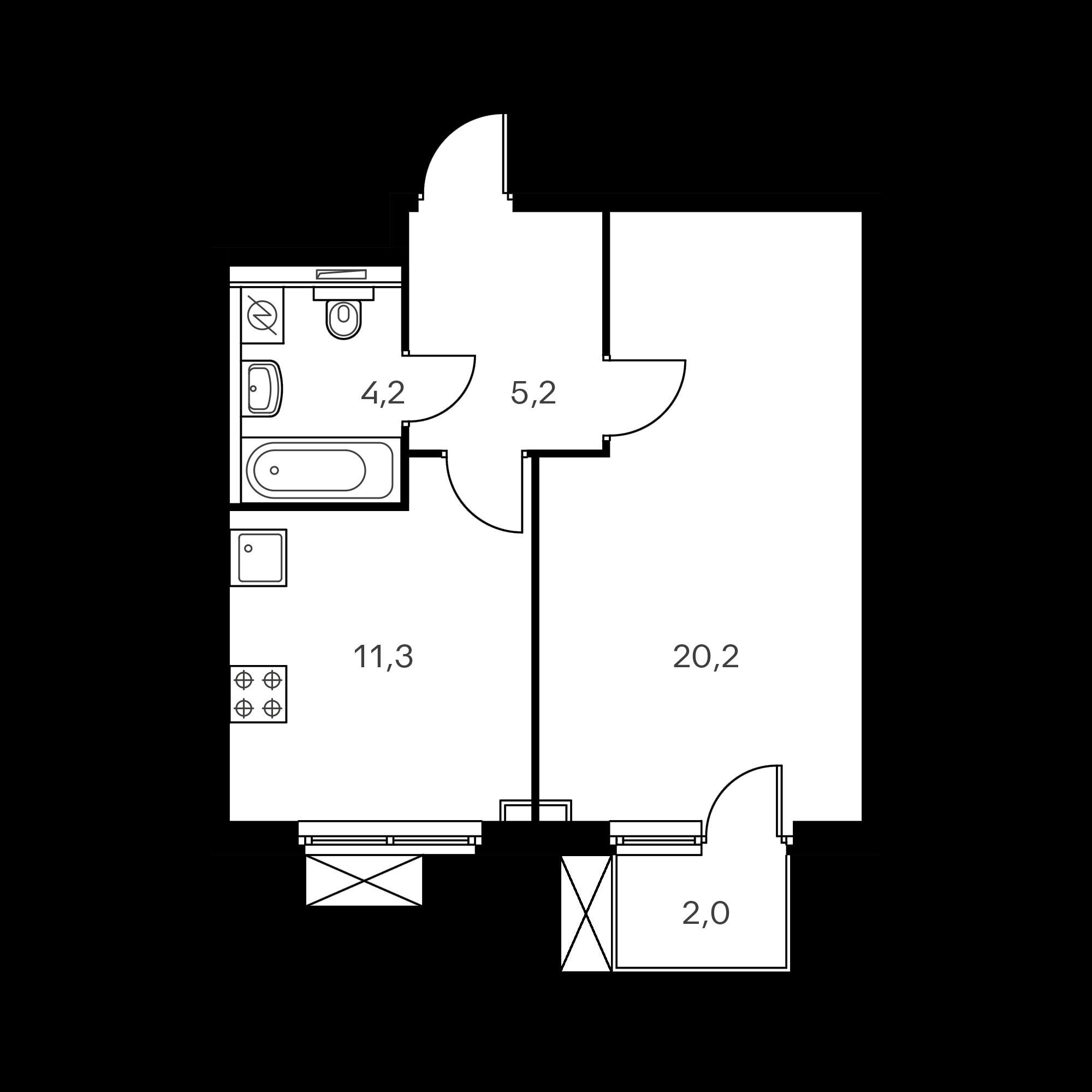 1-комнатная 41.5 м²