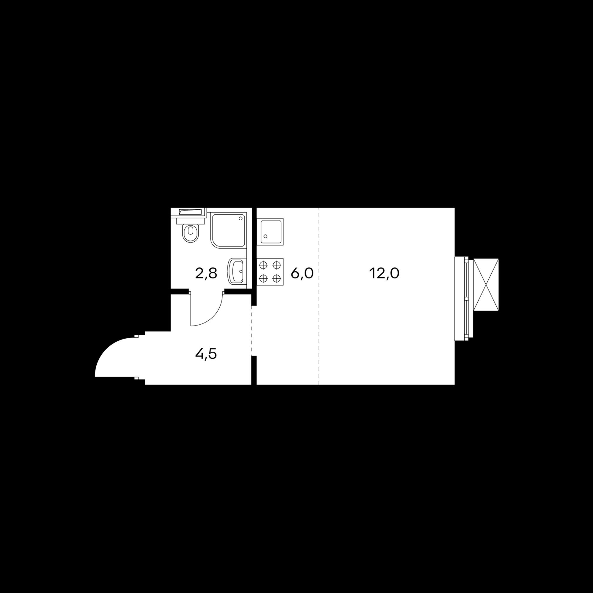 Студия 25.5  м²