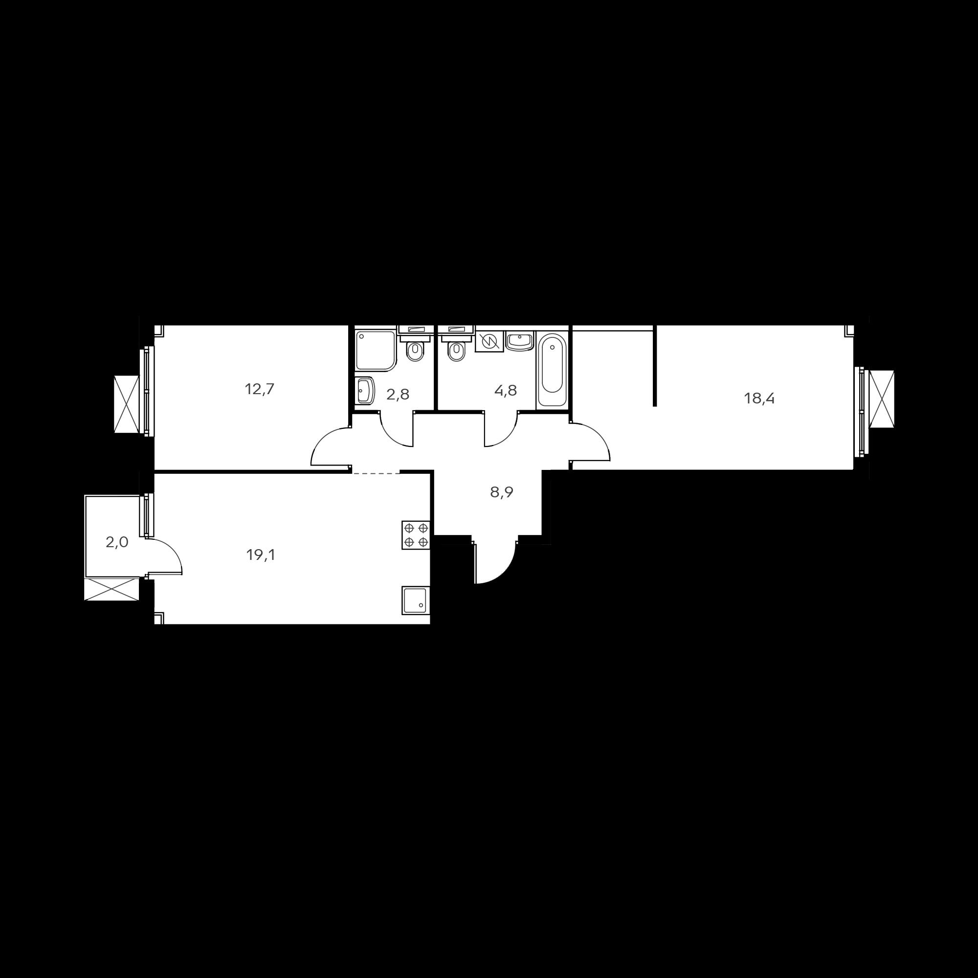 2-комнатная 67.2 м²