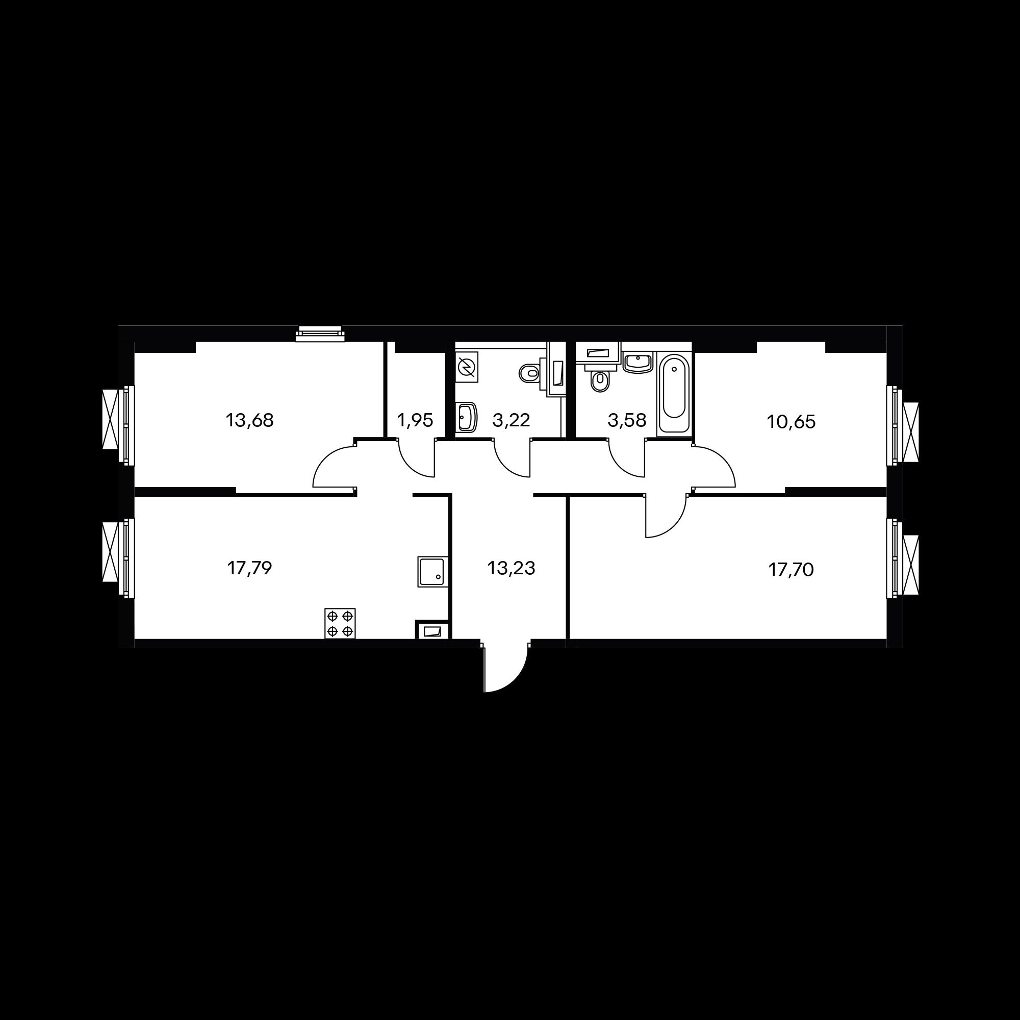 3-комнатная 81.72 м²