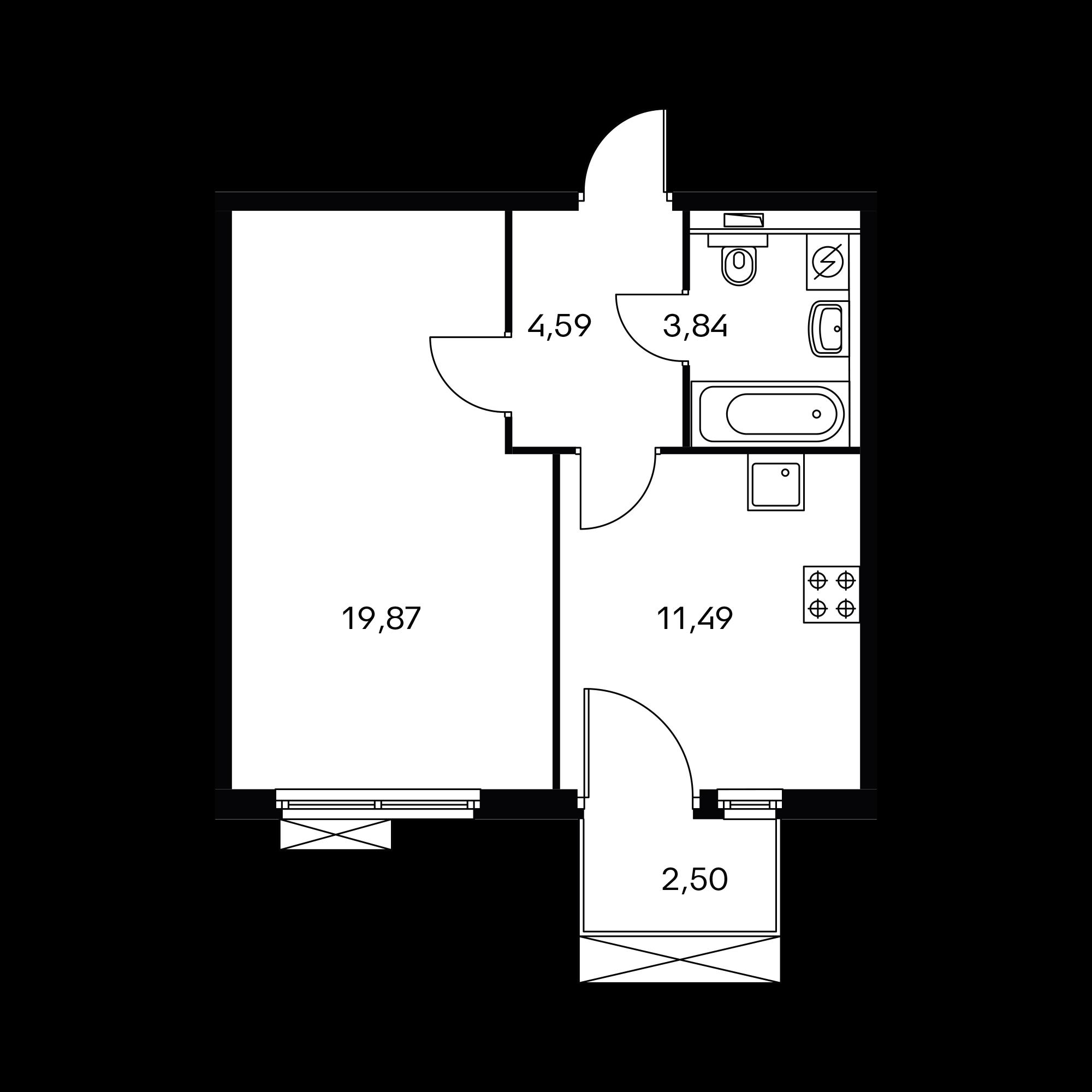 1-комнатная 40.54  м²