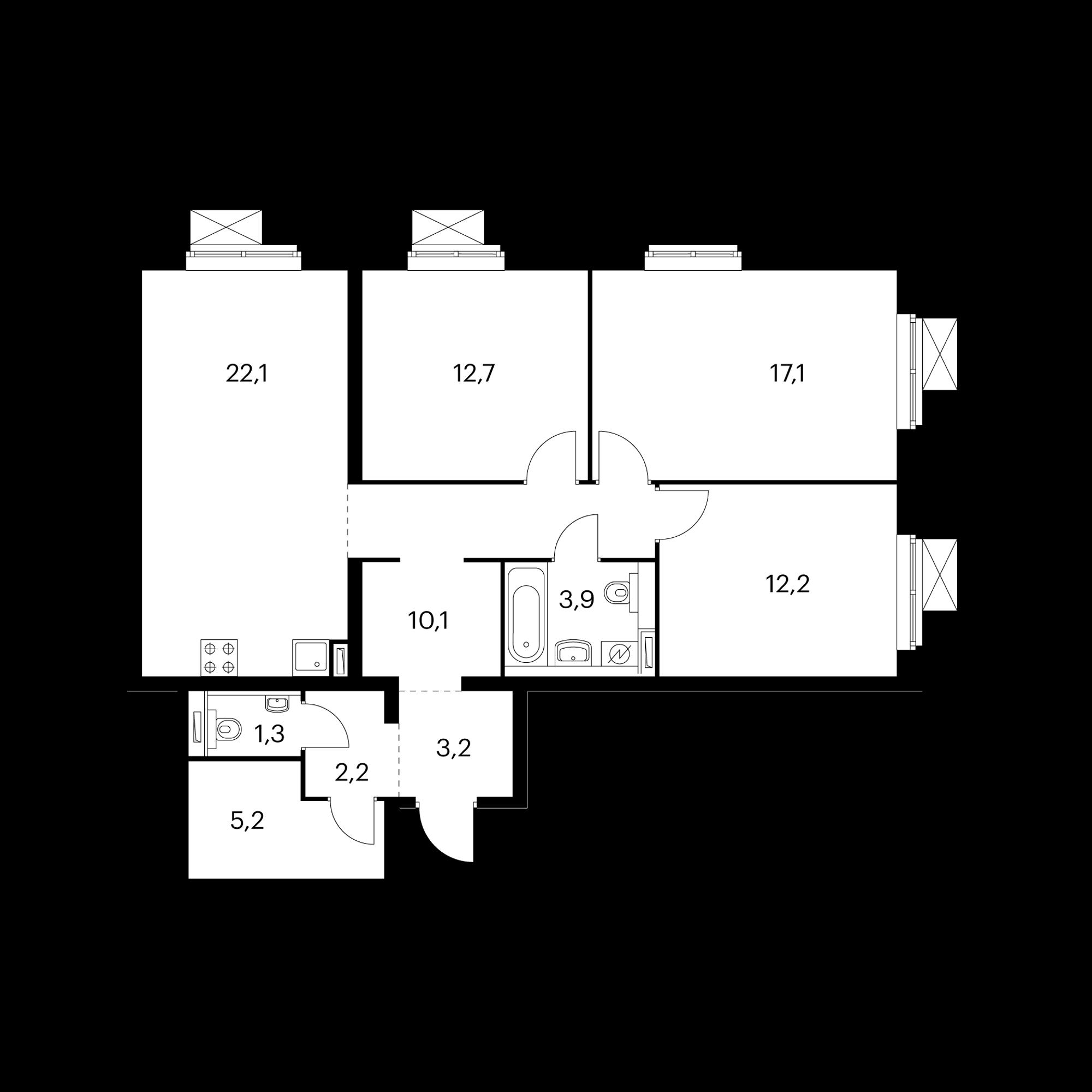 3-комнатная 90 м²