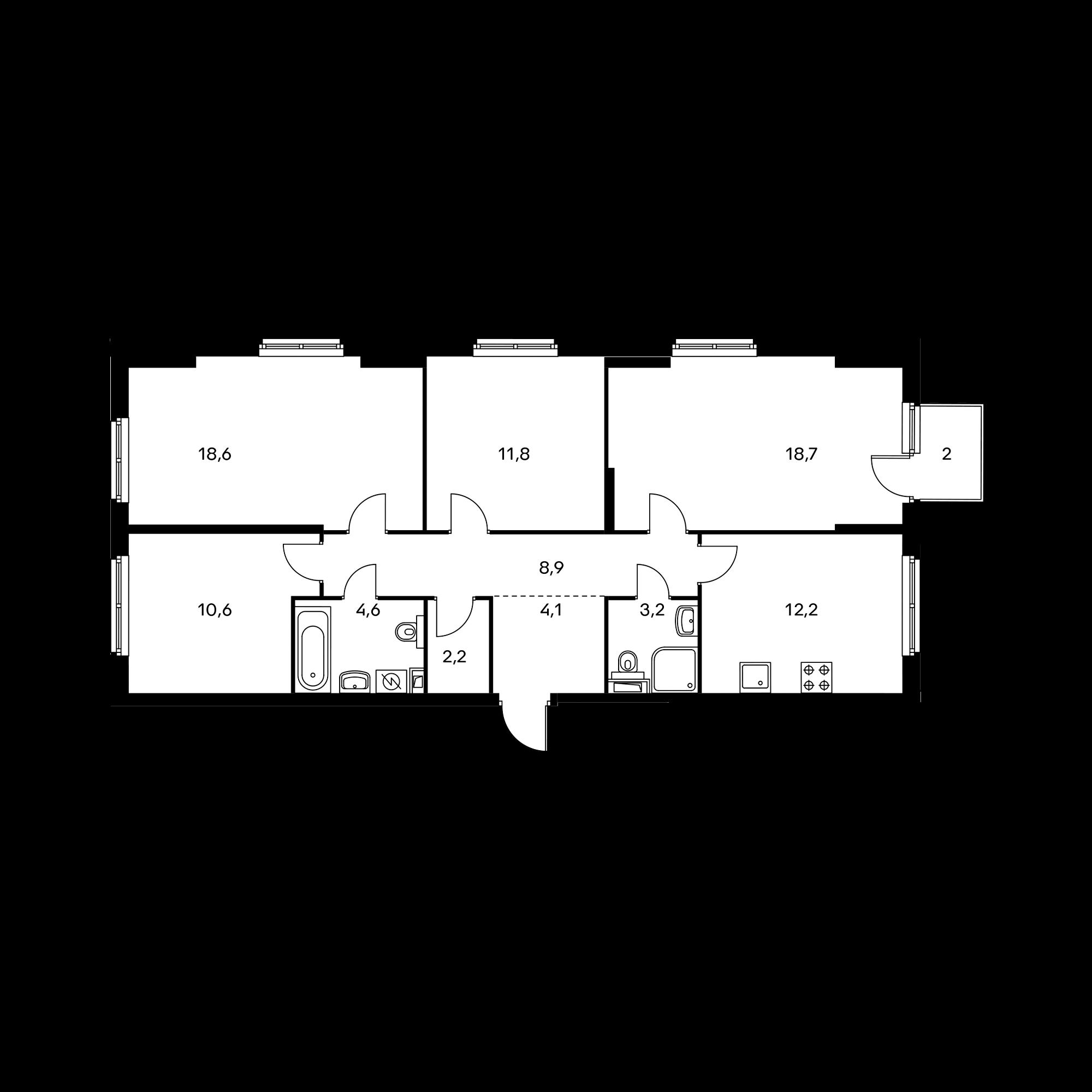 4-комнатная 95.5  м²