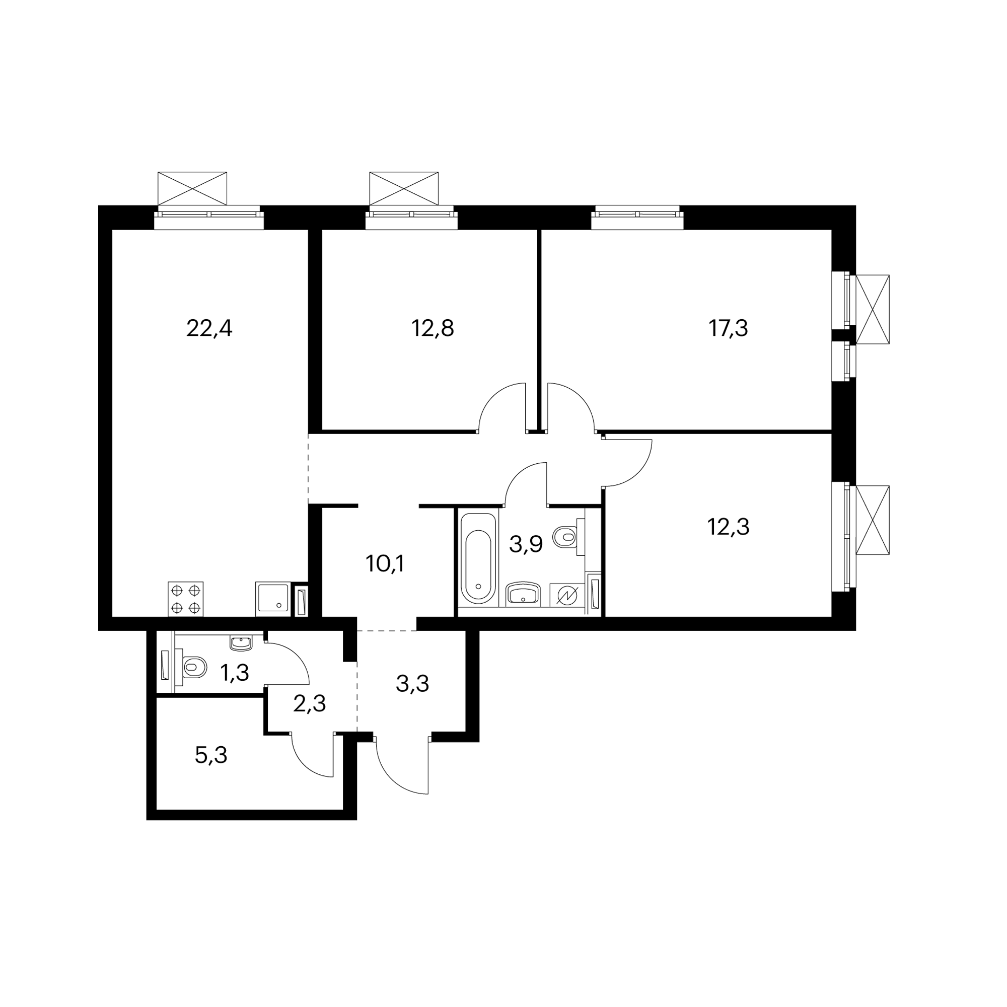 3-комнатная 91 м²