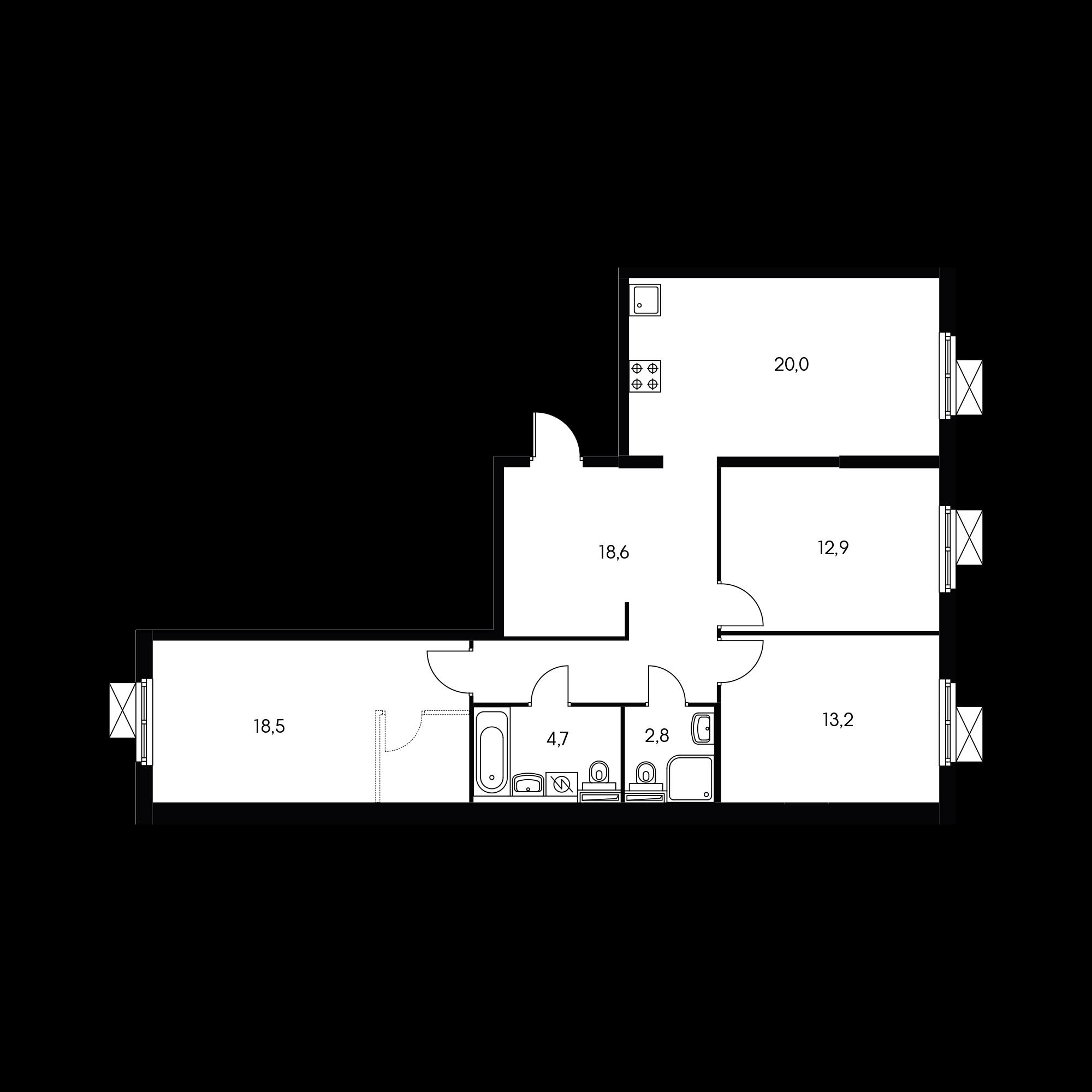3-комнатная 88.8 м²