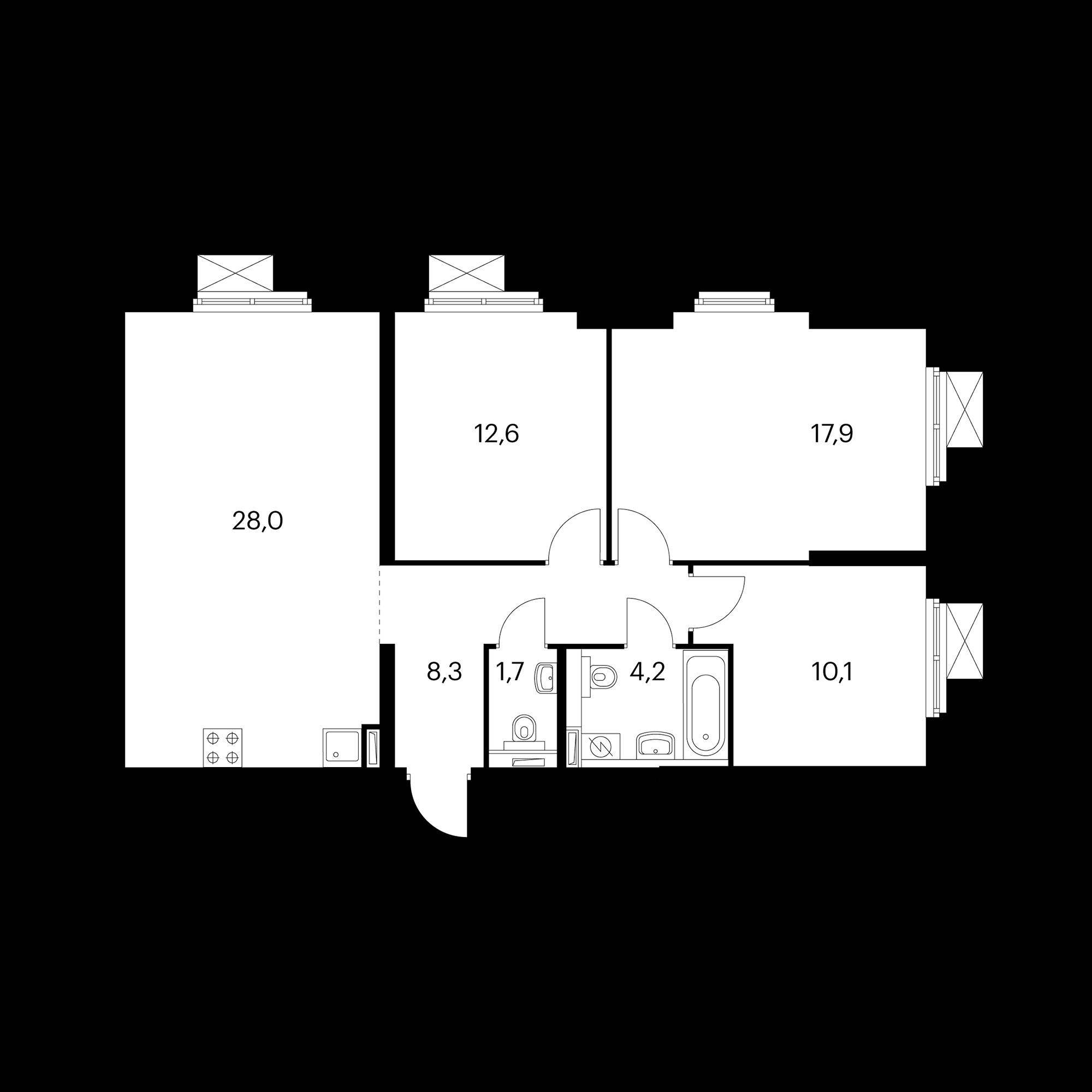 3-комнатная 83 м²