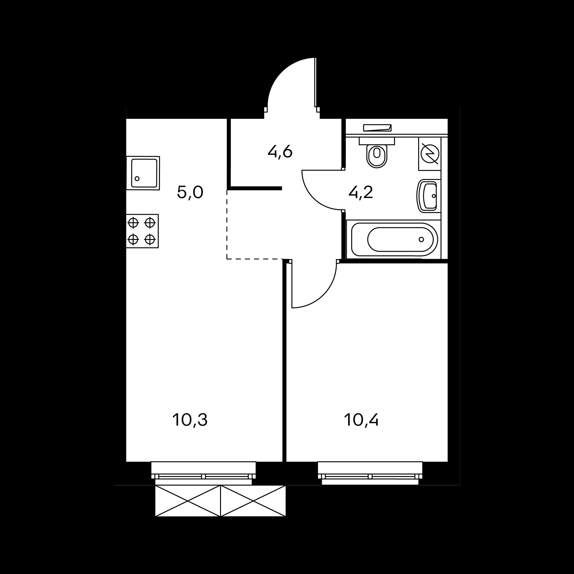2-комнатная 34.5 м²