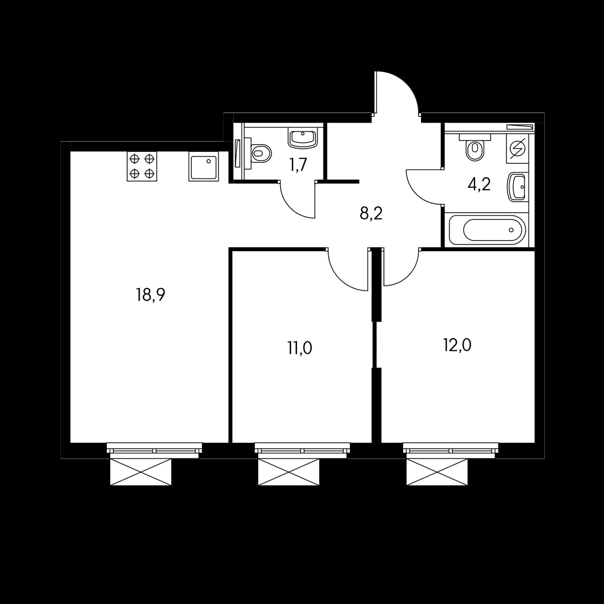 2-комнатная 56  м²