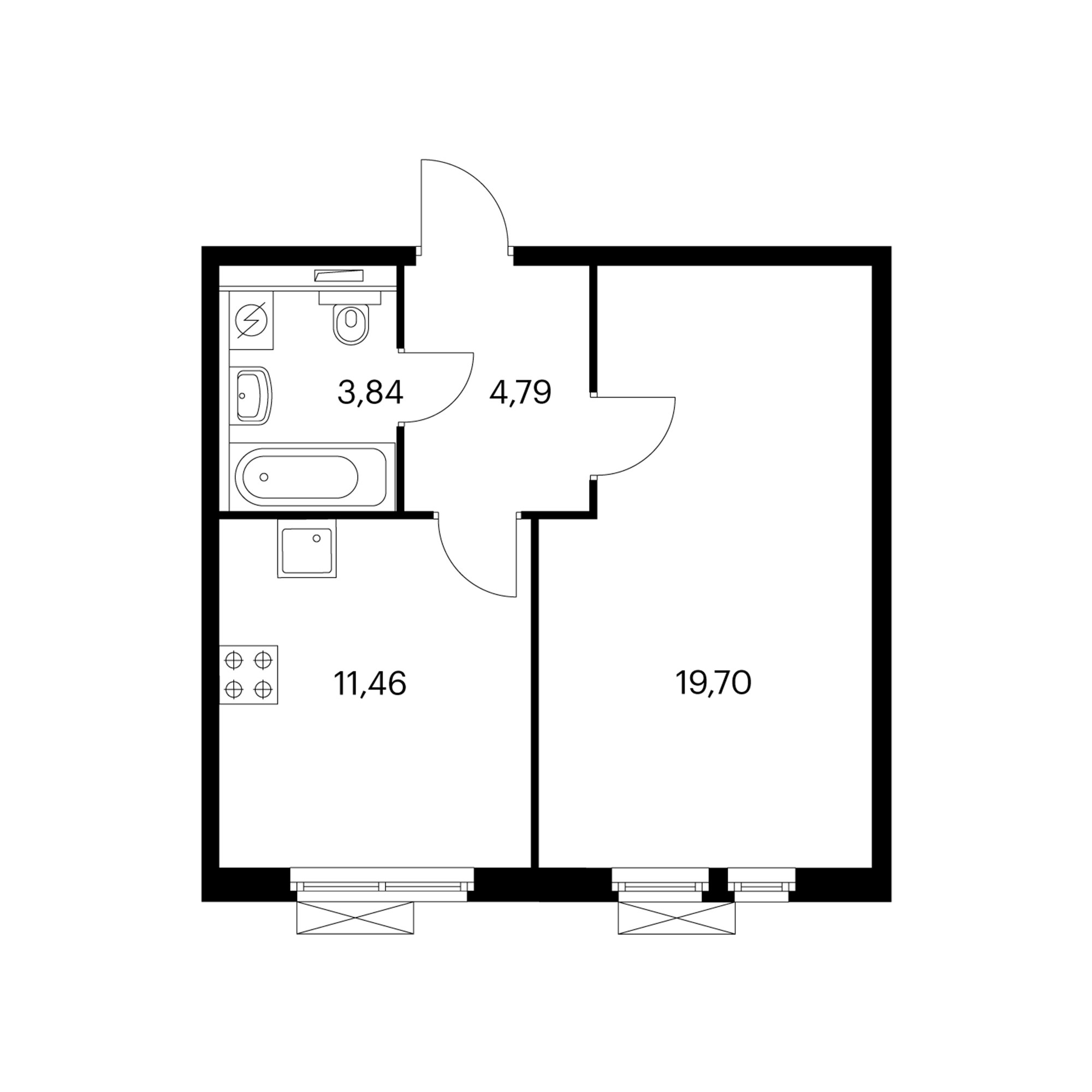 1-комнатная 39.79  м²