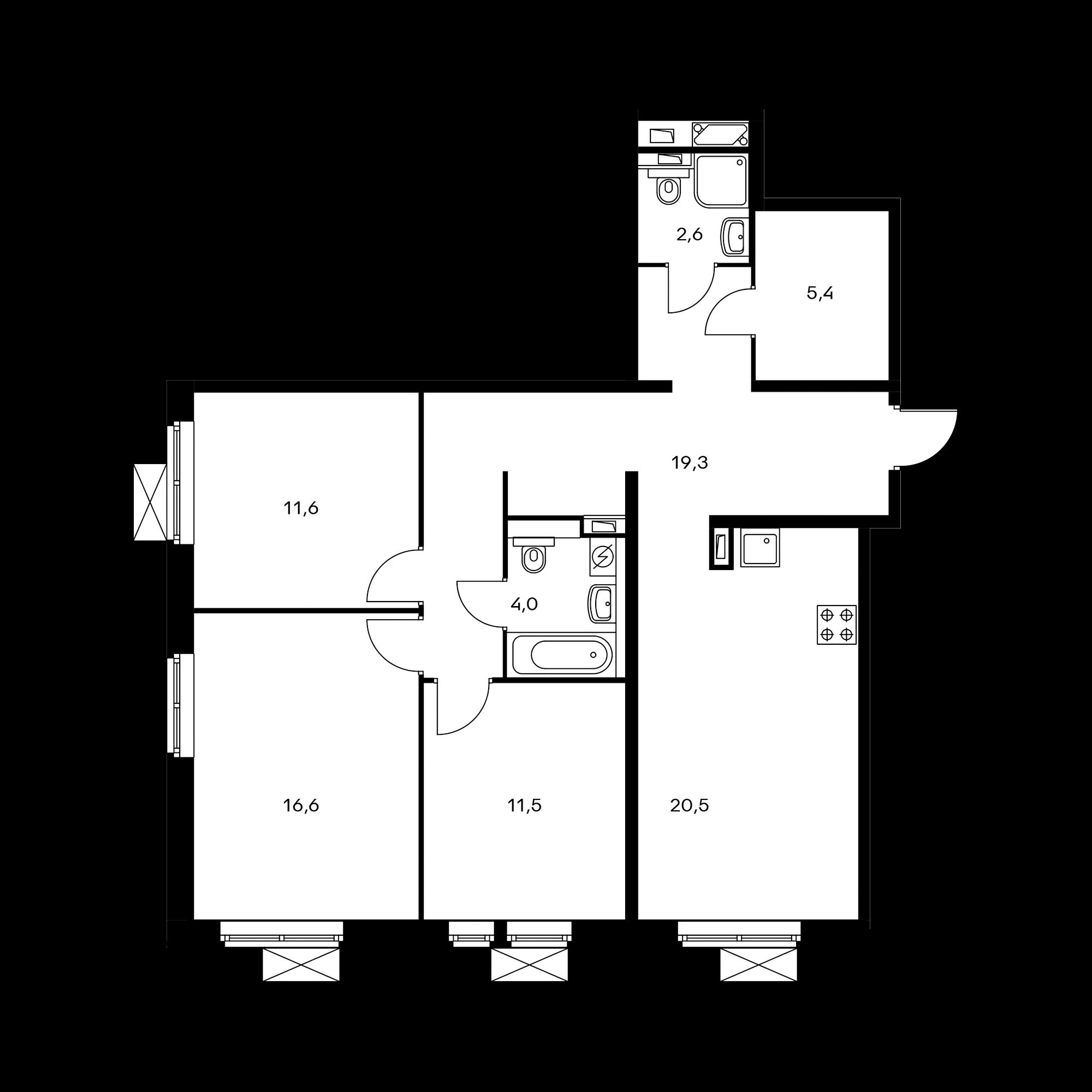 3-комнатная 91.5  м²