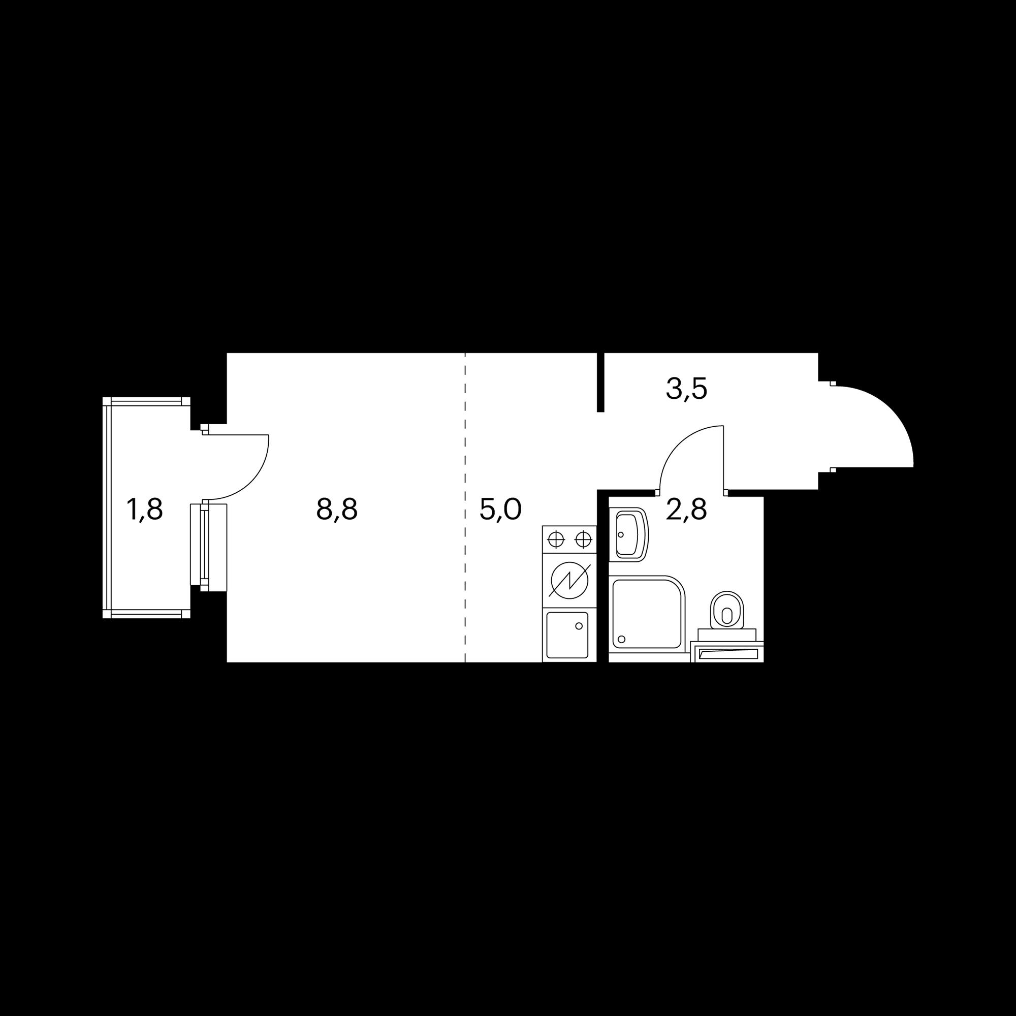 Студия 20.7  м²
