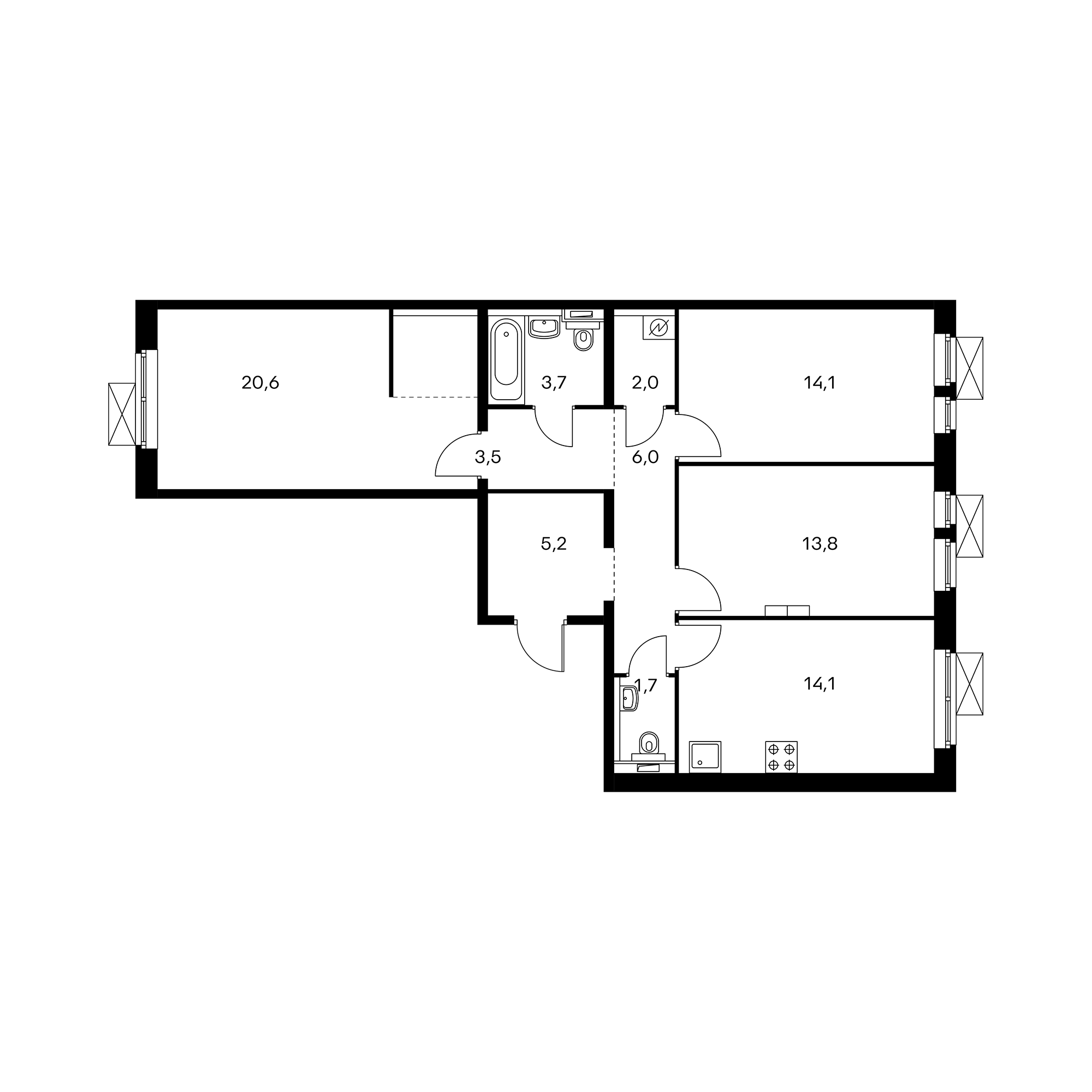 3-комнатная 84.7 м²