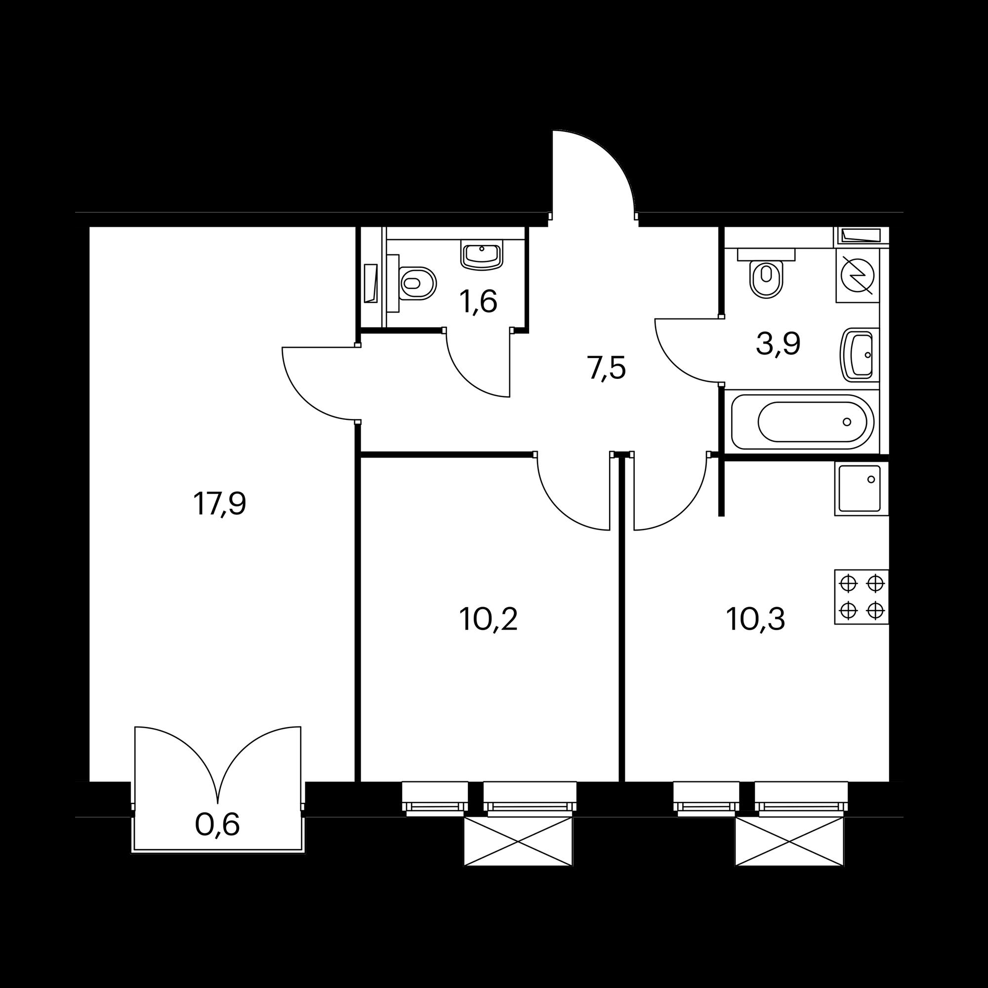 2-комнатная 51.6  м²