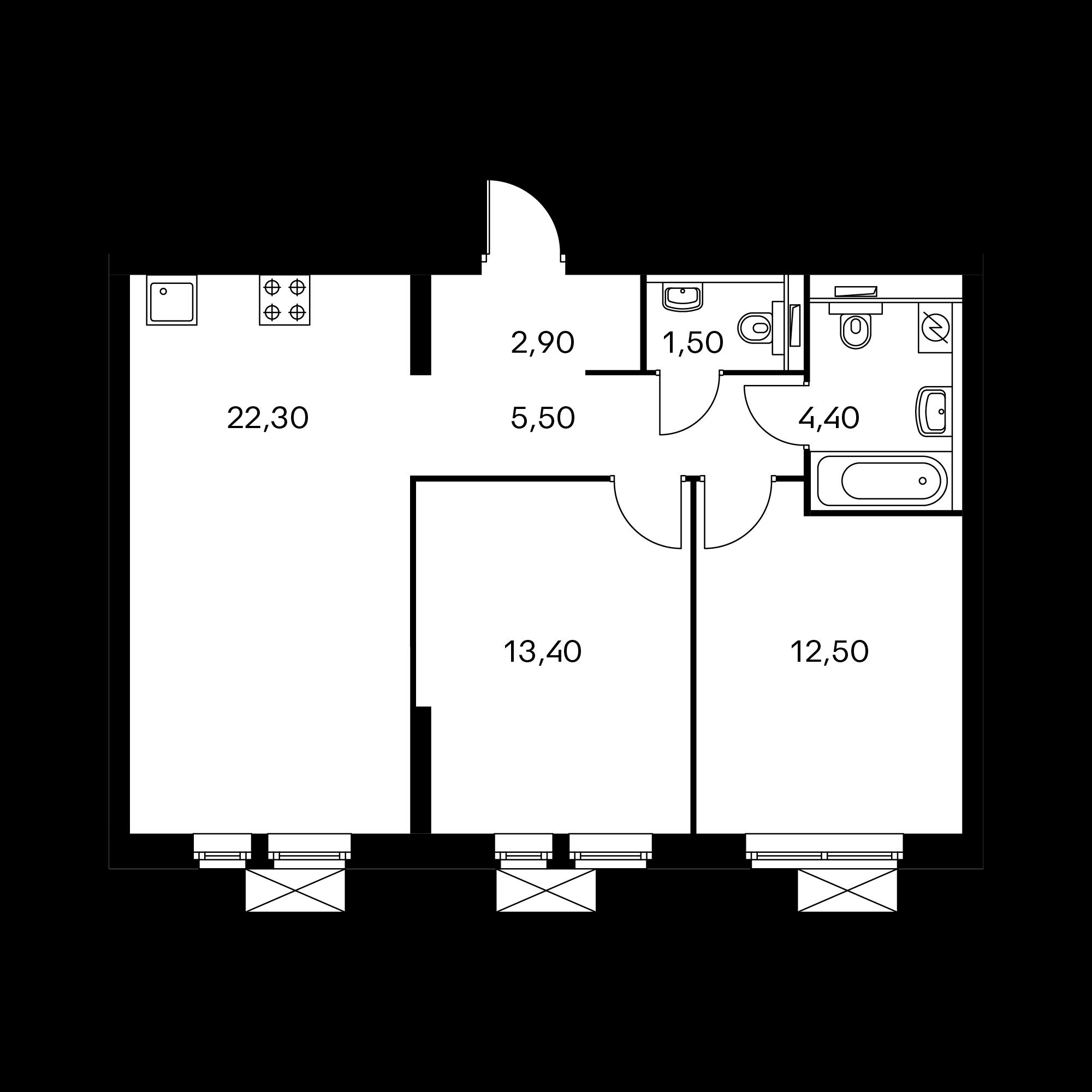 2-комнатная 62.5  м²