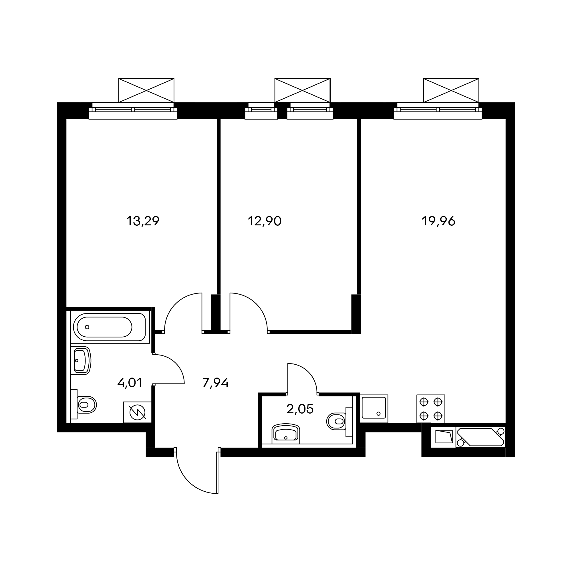 2-комнатная 60.15  м²