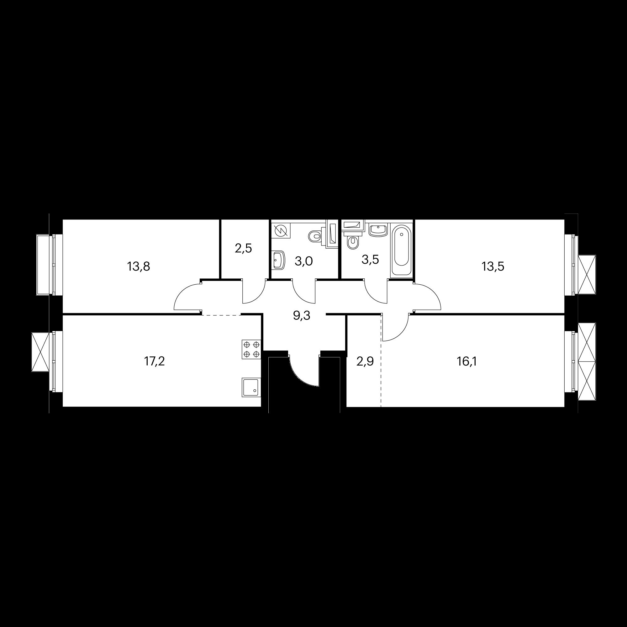 3-комнатная 81.8 м²