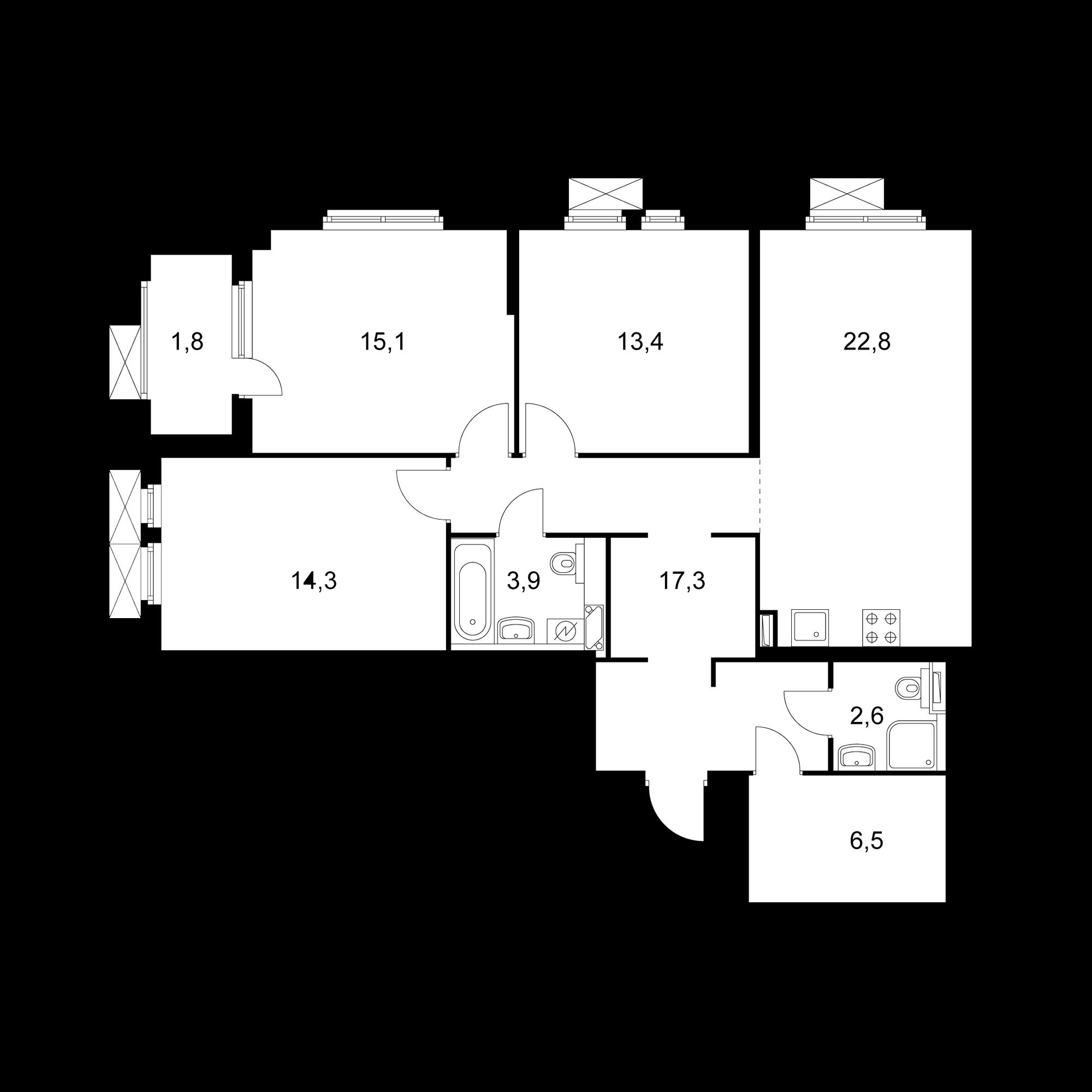 3-комнатная 97.7 м²