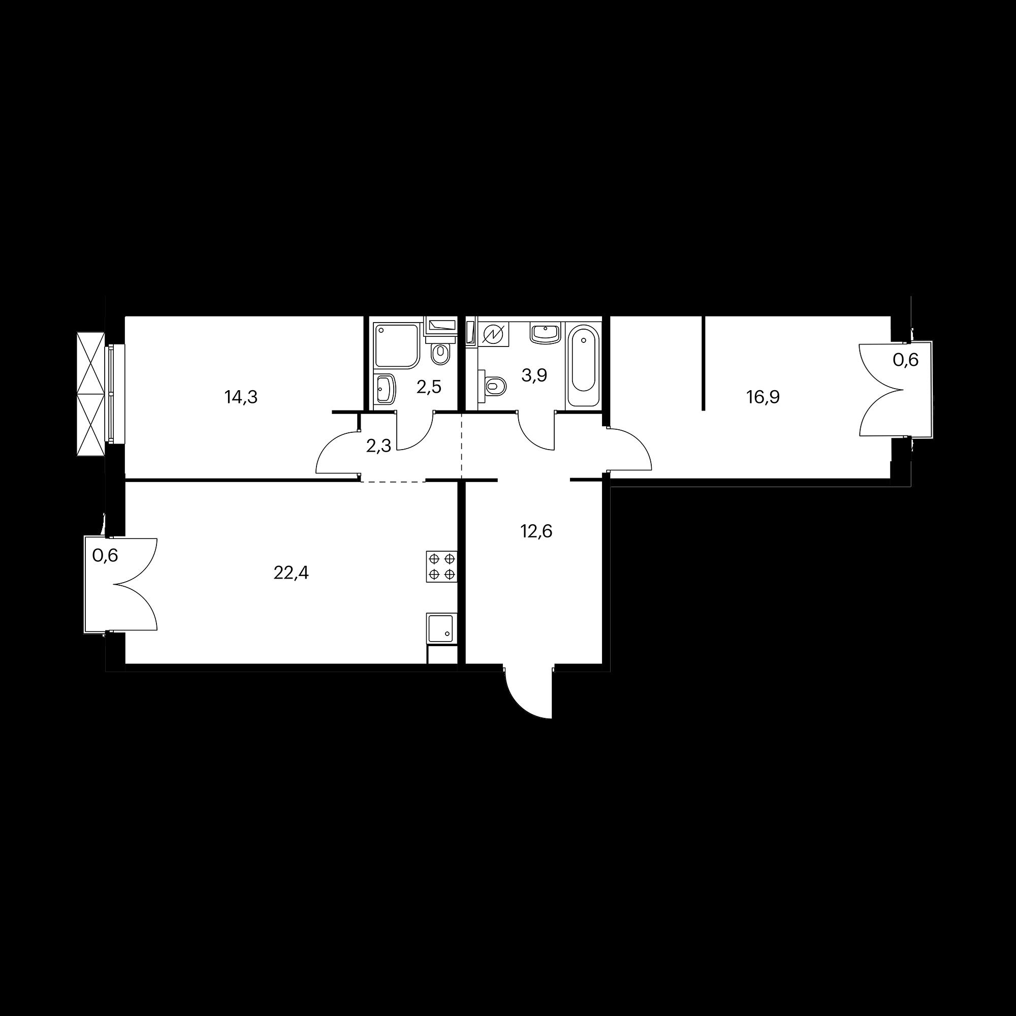 2-комнатная 75.3 м²
