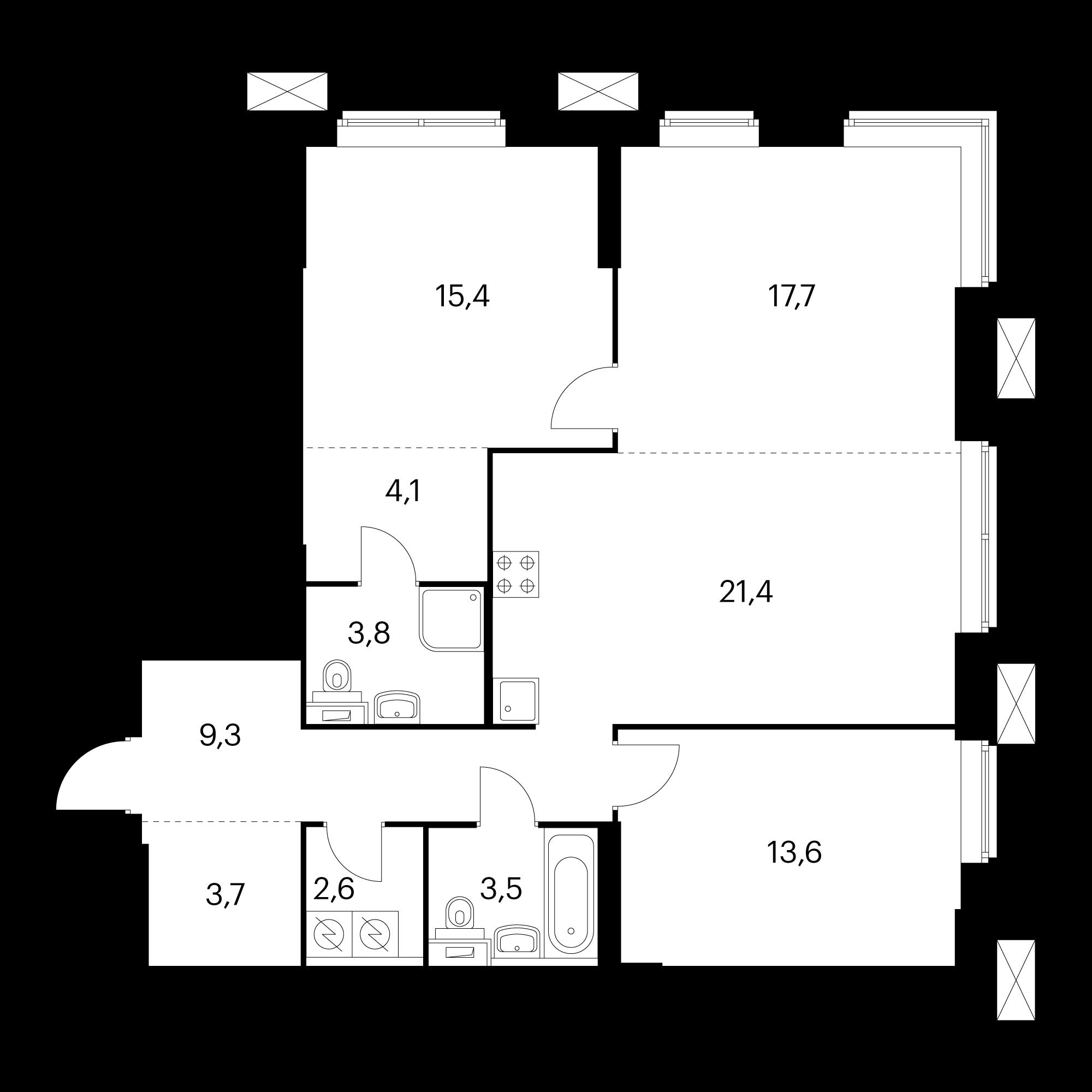 3-комнатные 95.1 м²