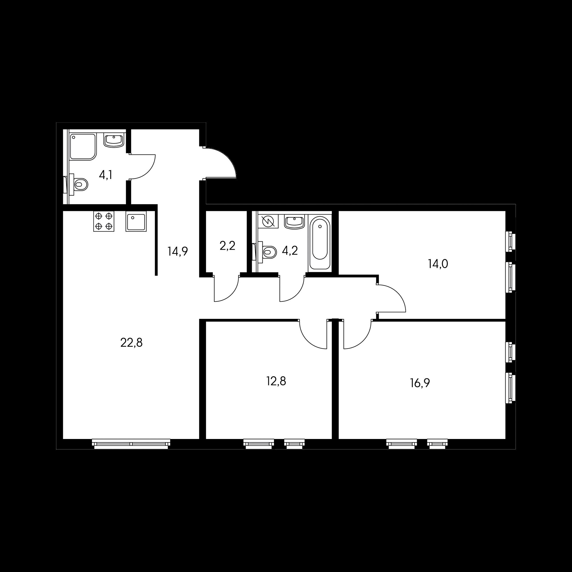 3-комнатная 90.3 м²