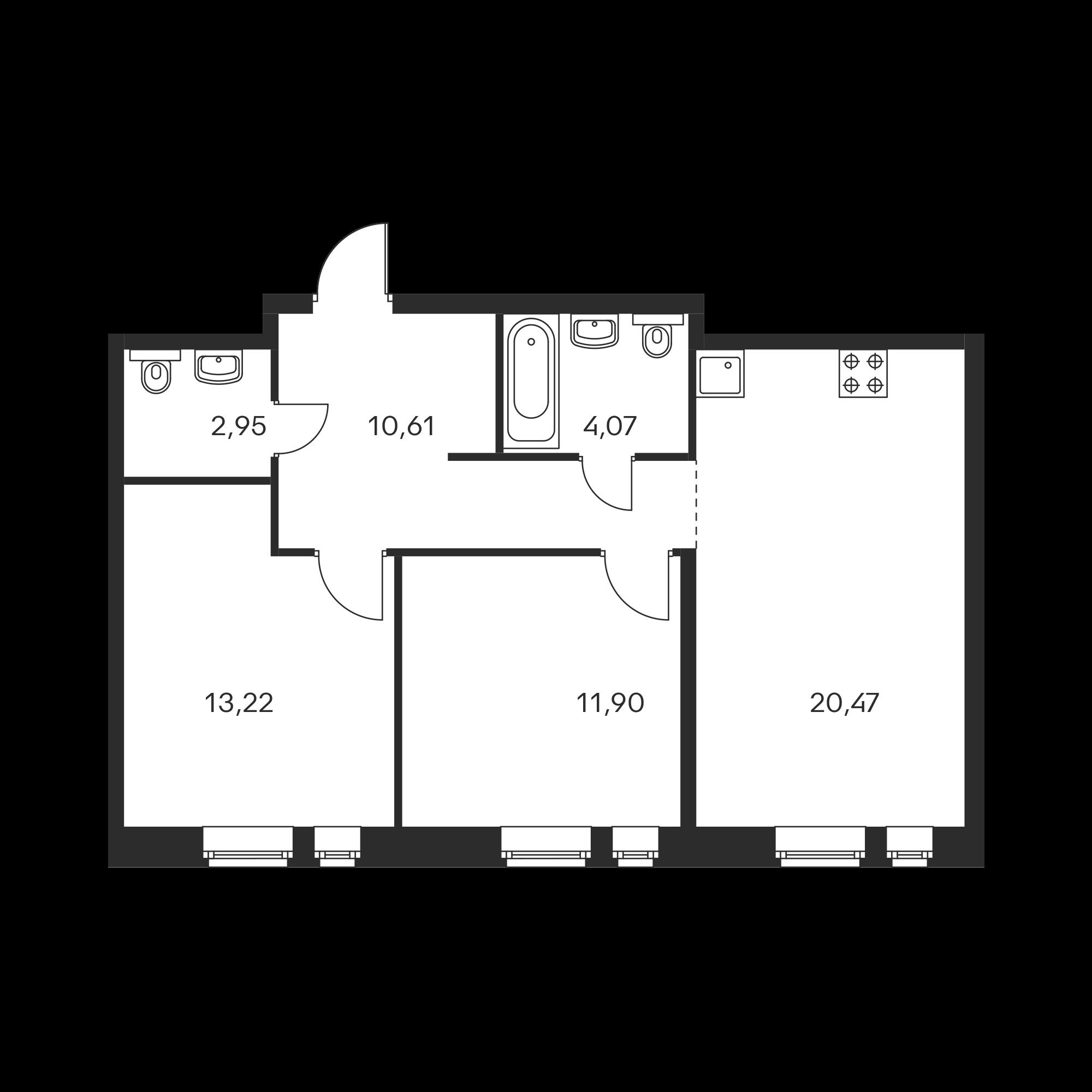 2-комнатная 63.22 м²