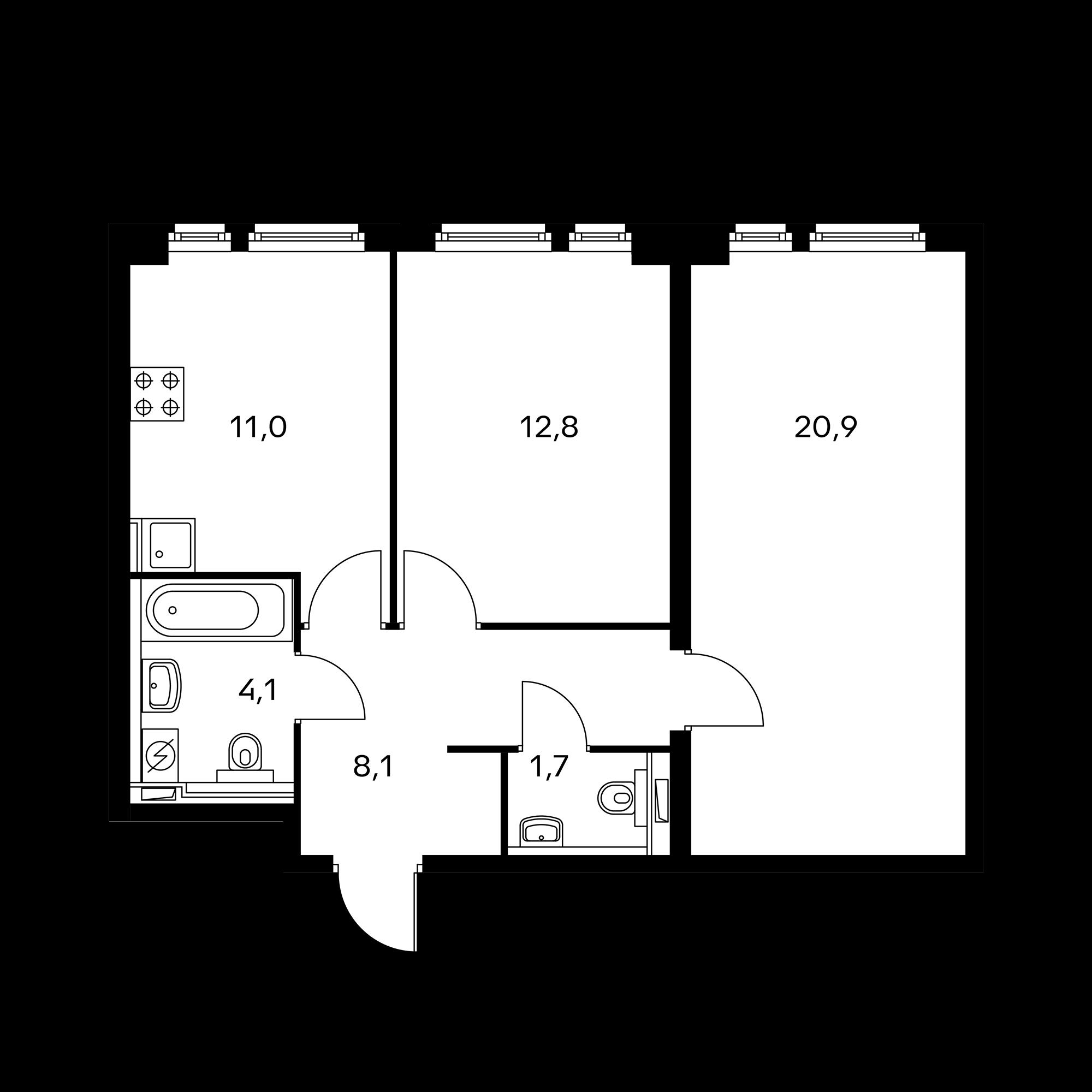 2-комнатная 58.7 м²