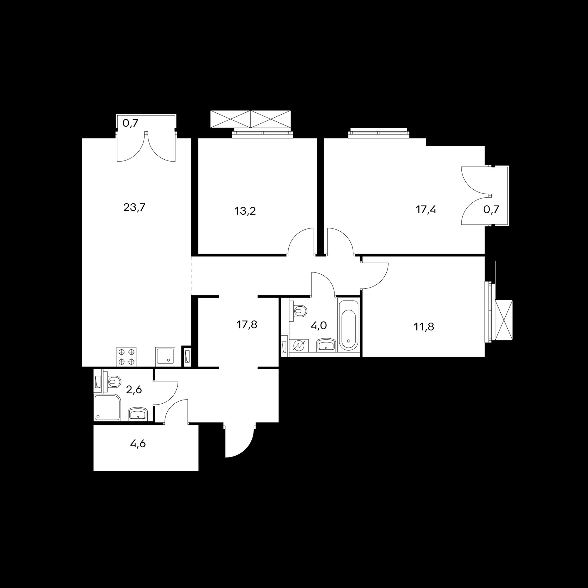 3-комнатная 95.5 м²