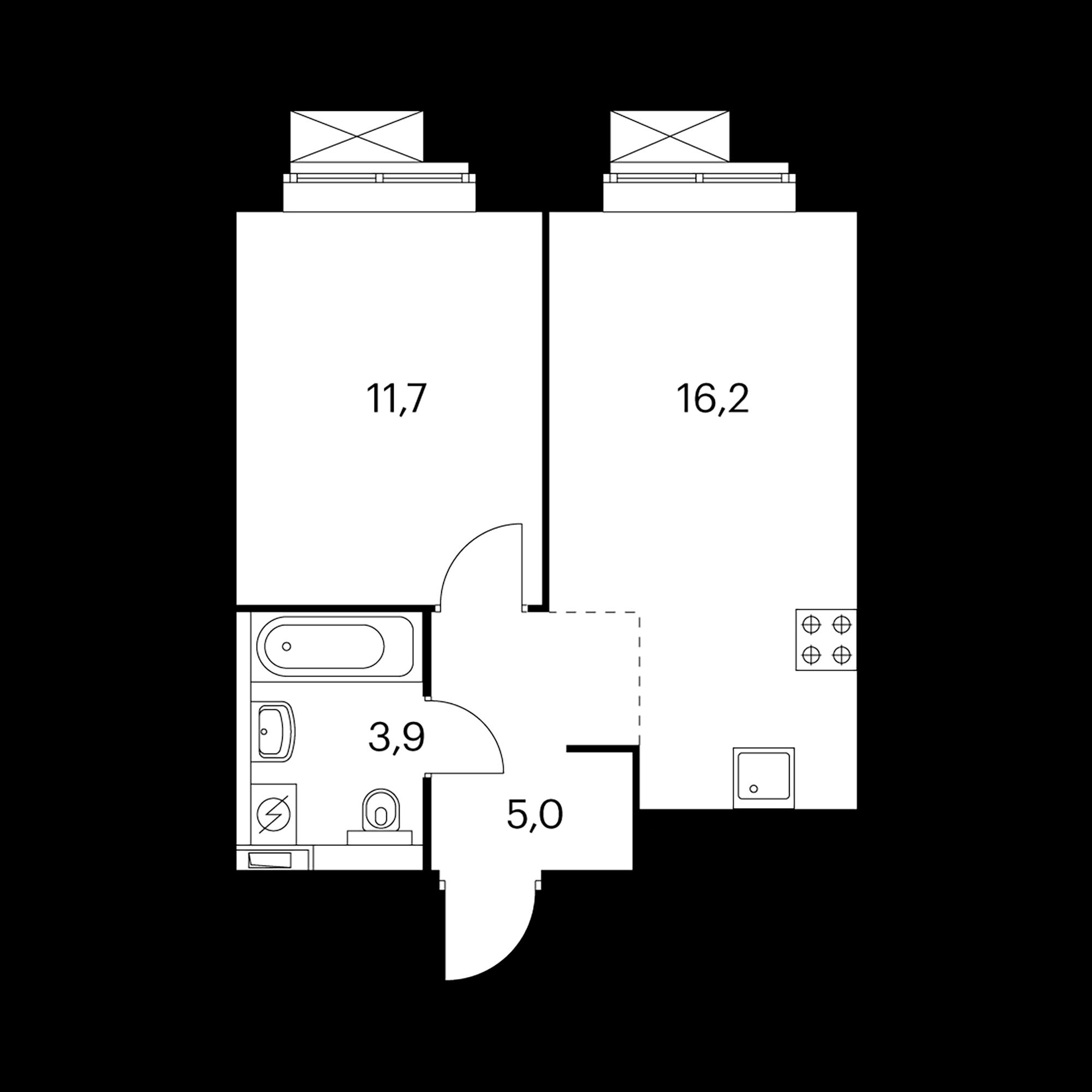 1-комнатная 36.8  м²