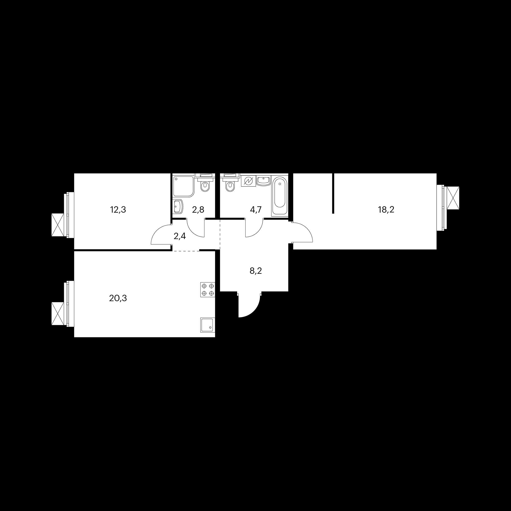 2-комнатная 68.9 м²
