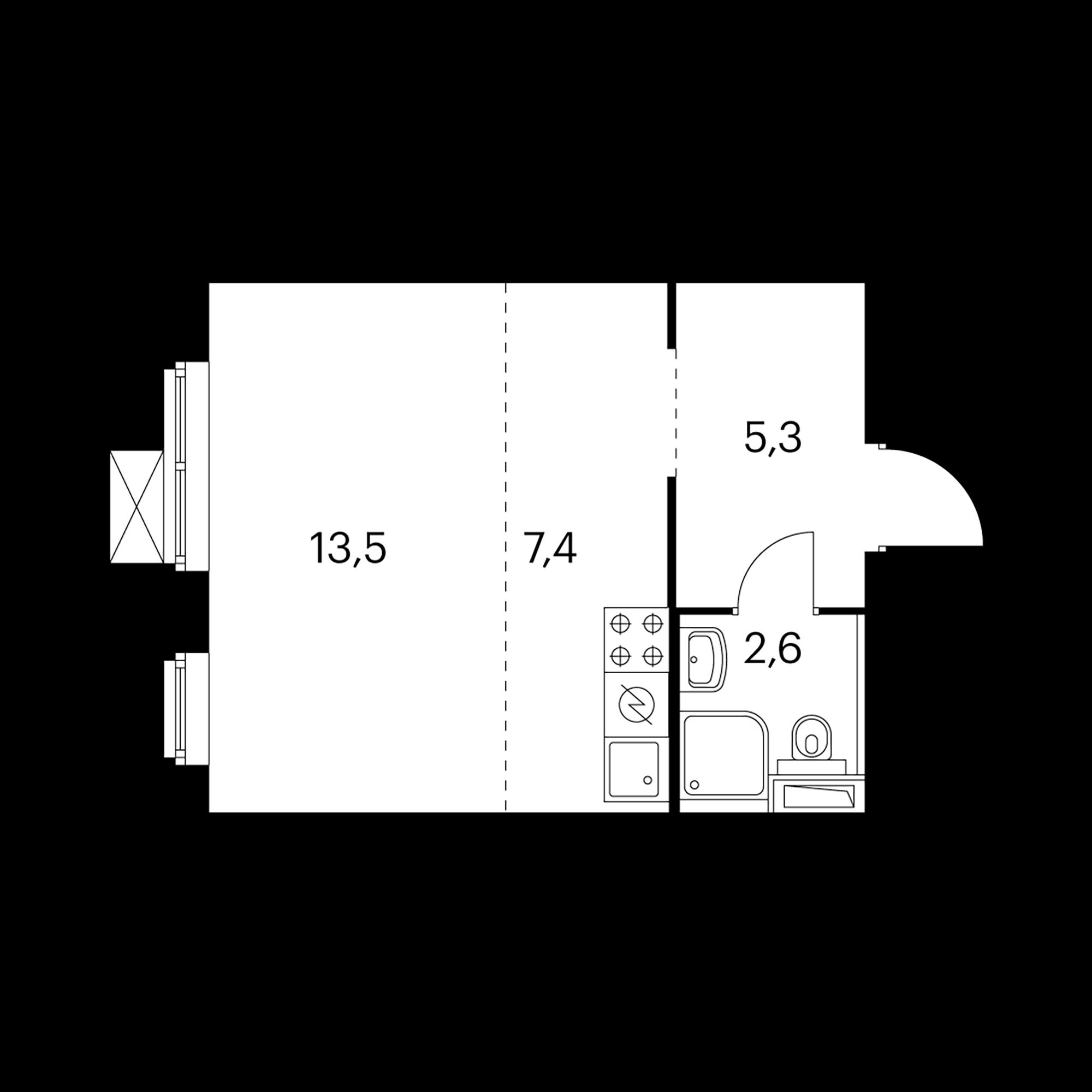 1-комнатная 28.8  м²