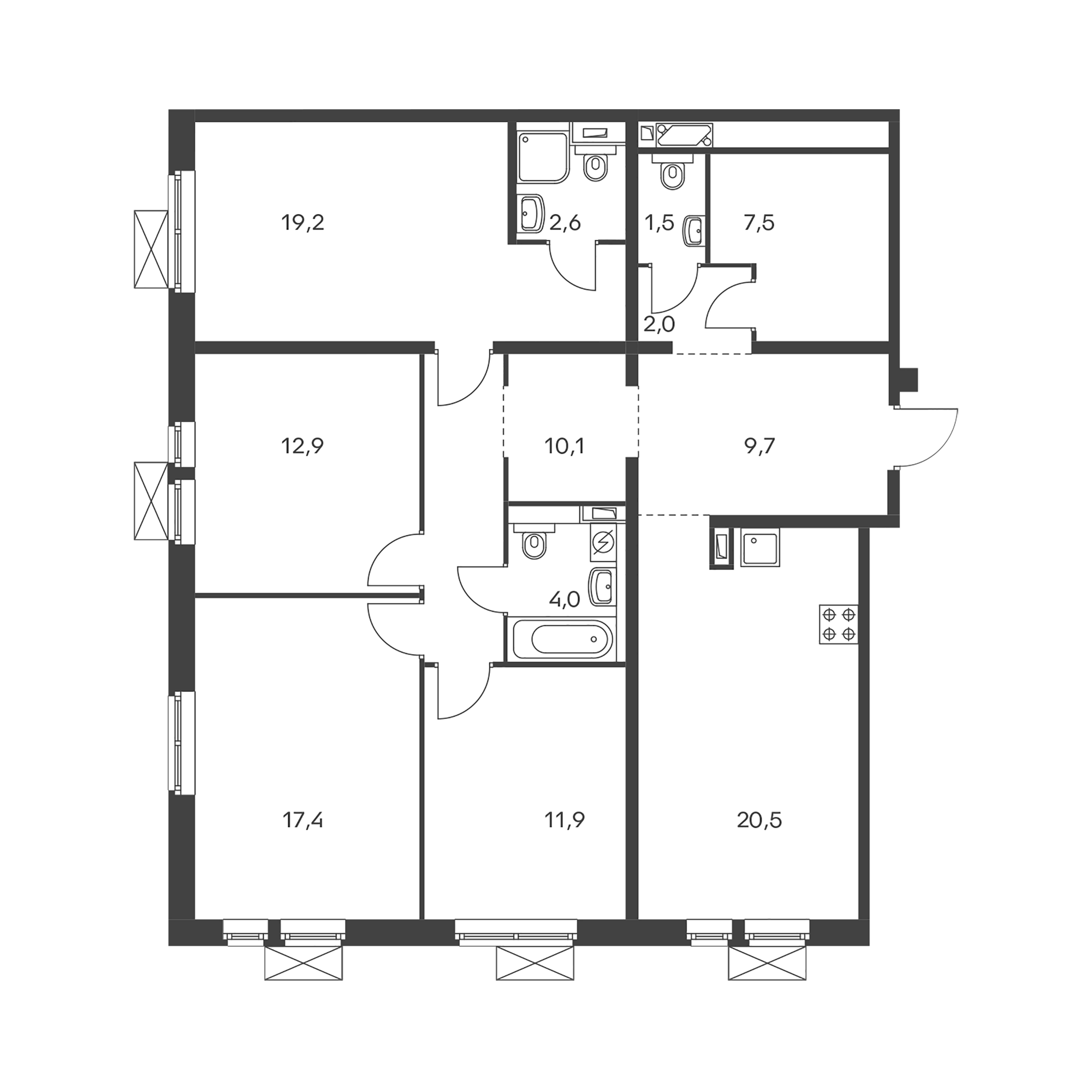 4-комнатная 119.3  м²