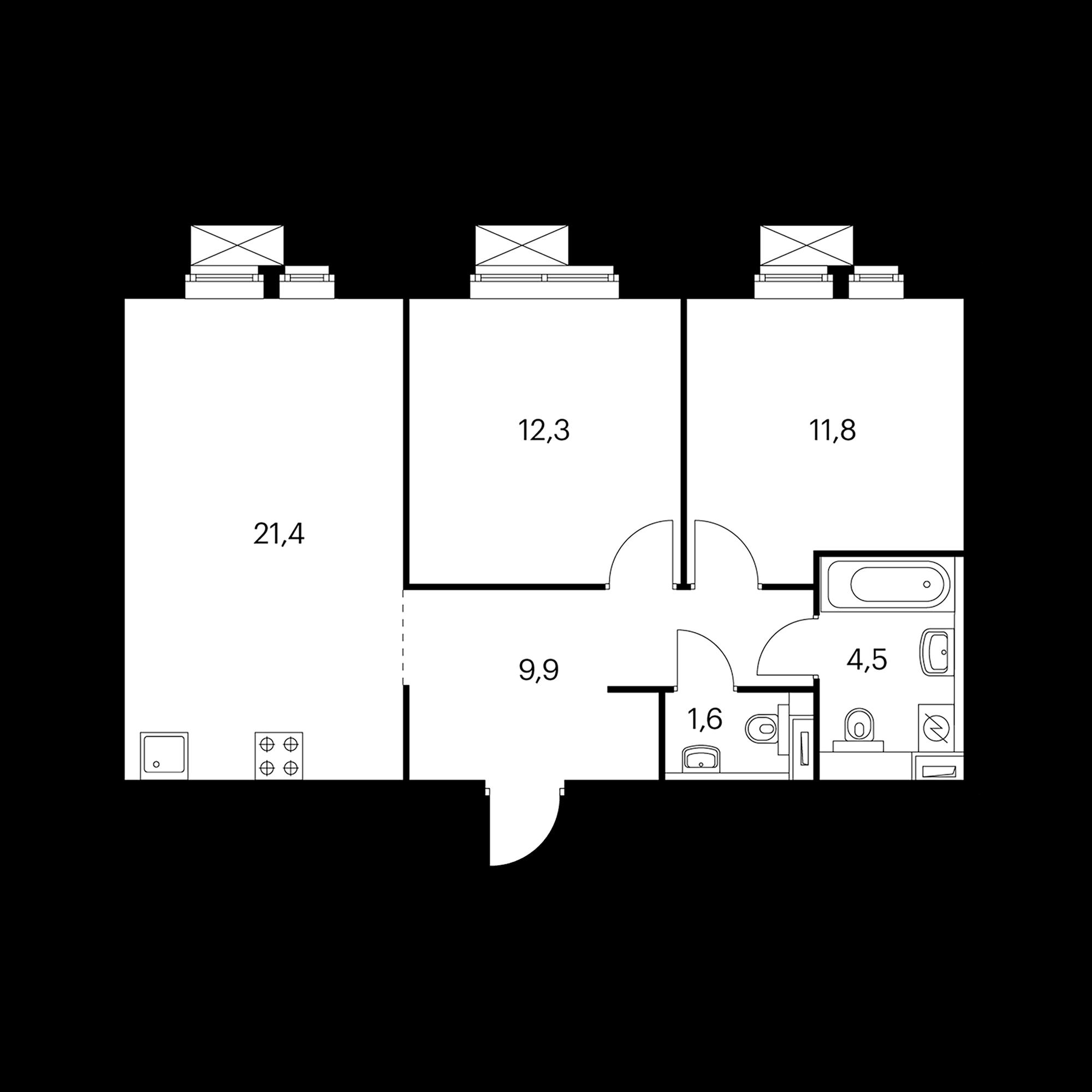 2-комнатная 61.5 м²