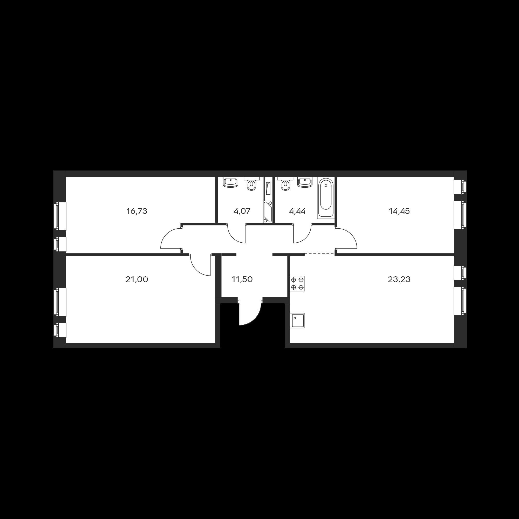 3-комнатная 95.42 м²