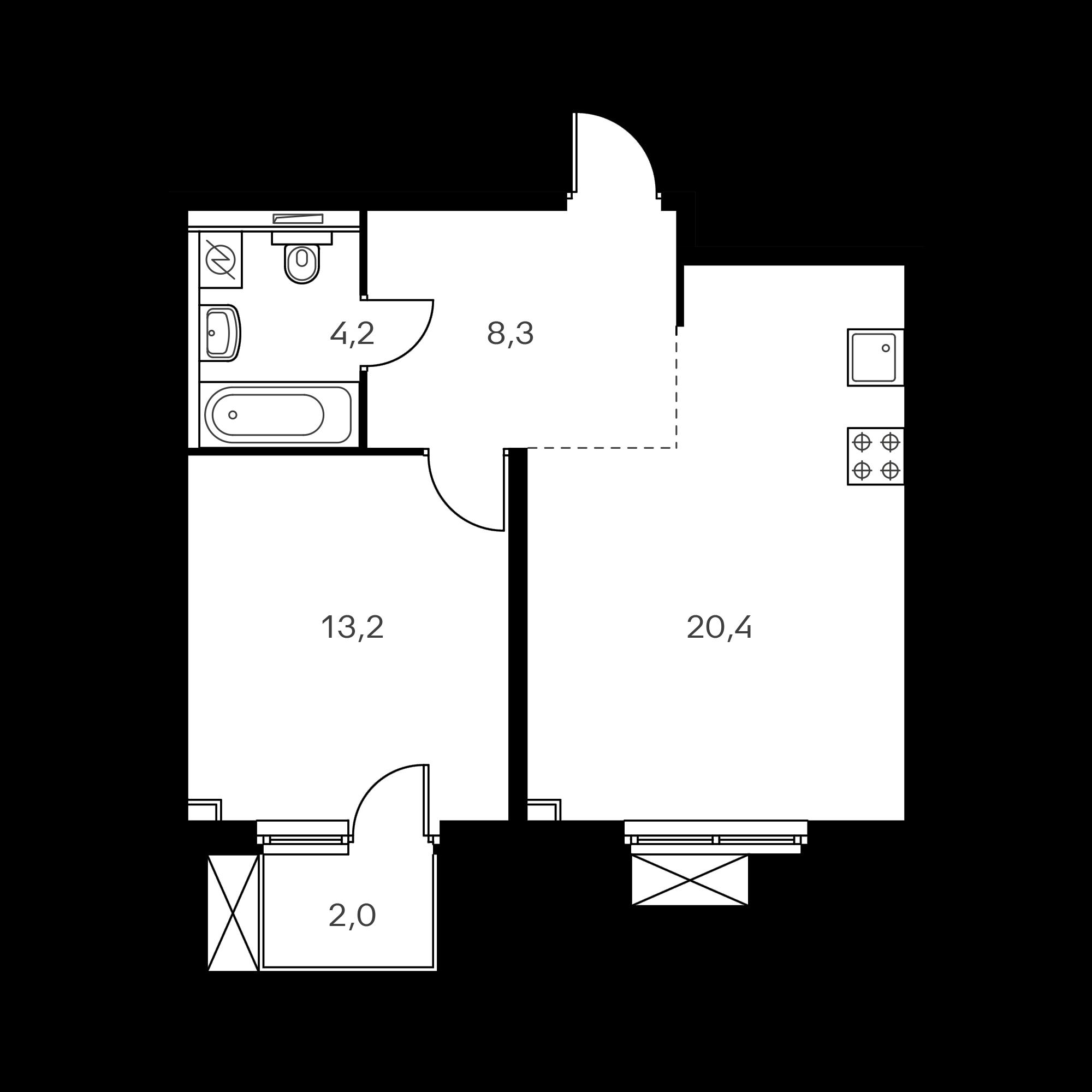 1-комнатная 46.7 м²