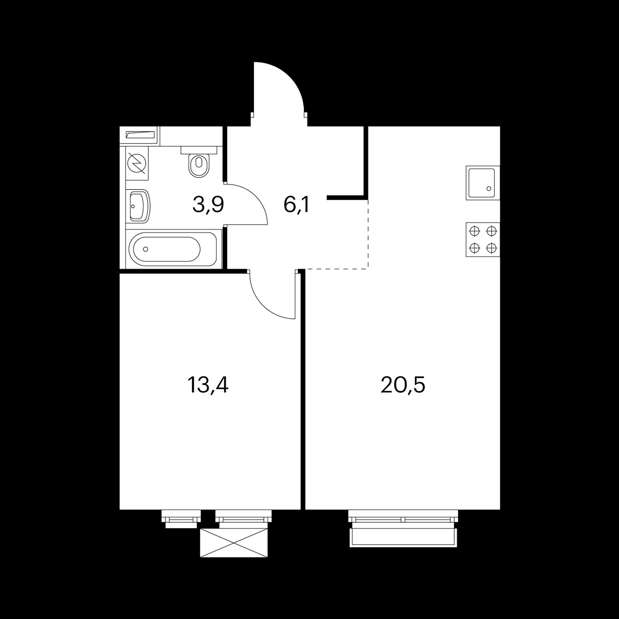 1-комнатная 43.9  м²
