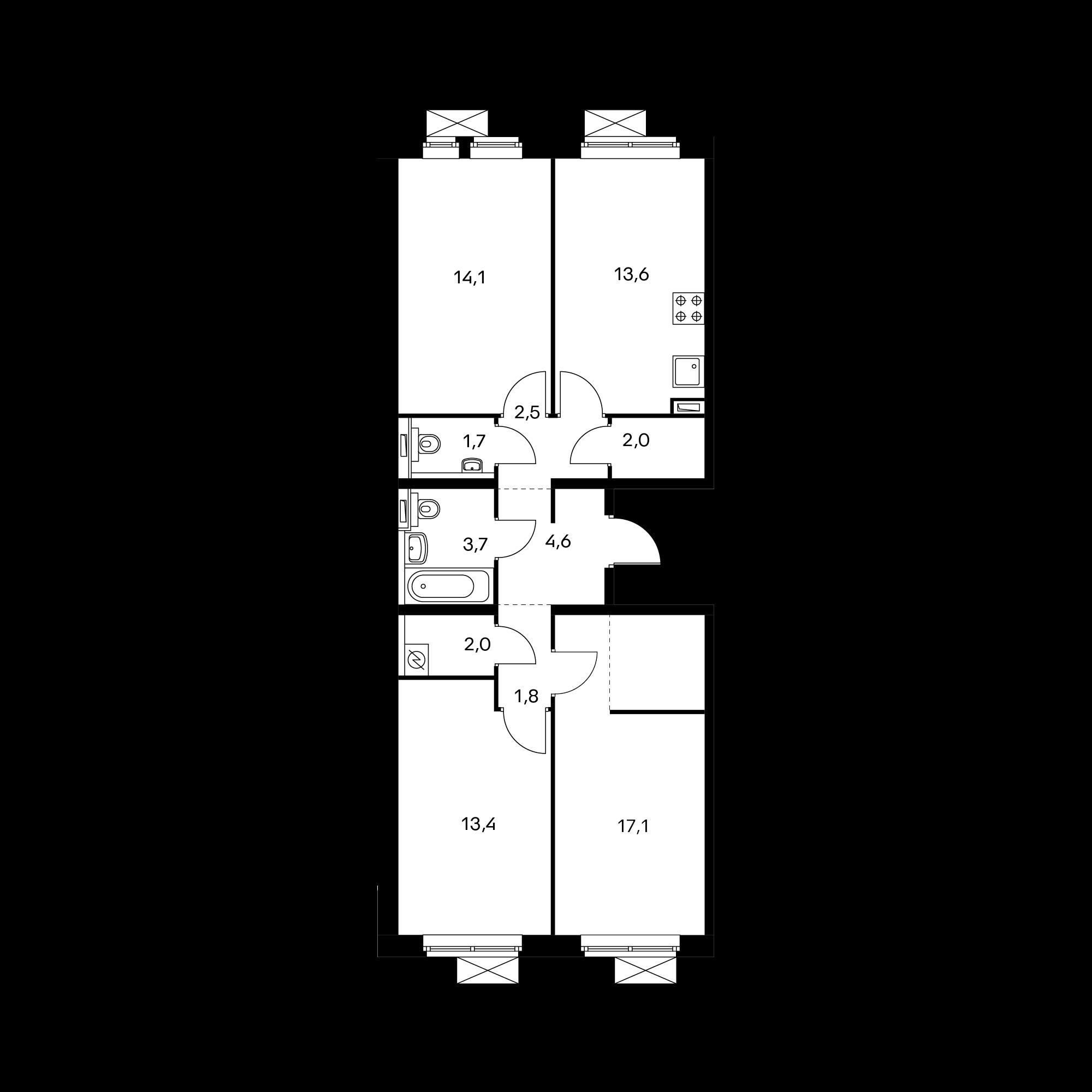 3-комнатная 76.5 м²