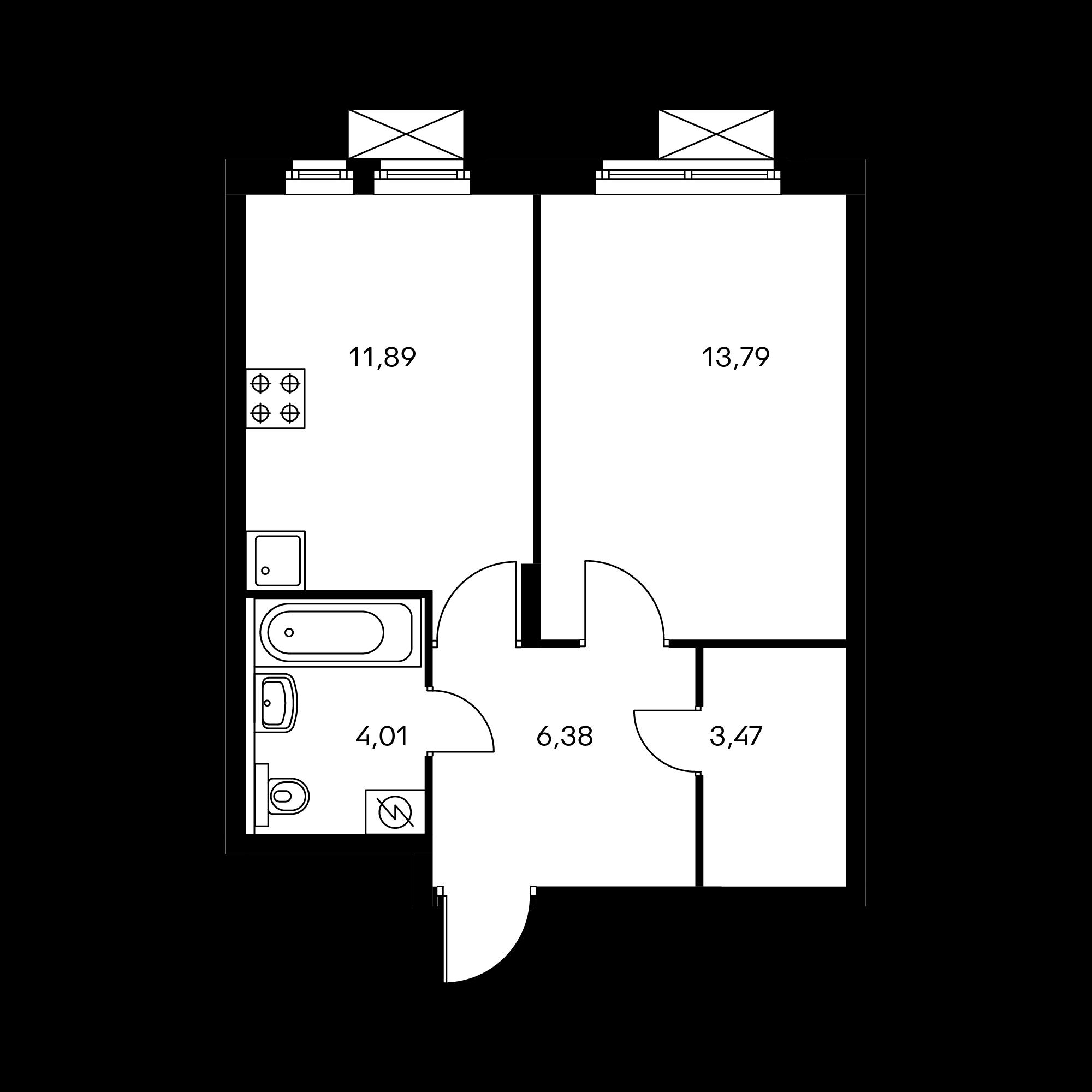 1-комнатная 39.54  м²